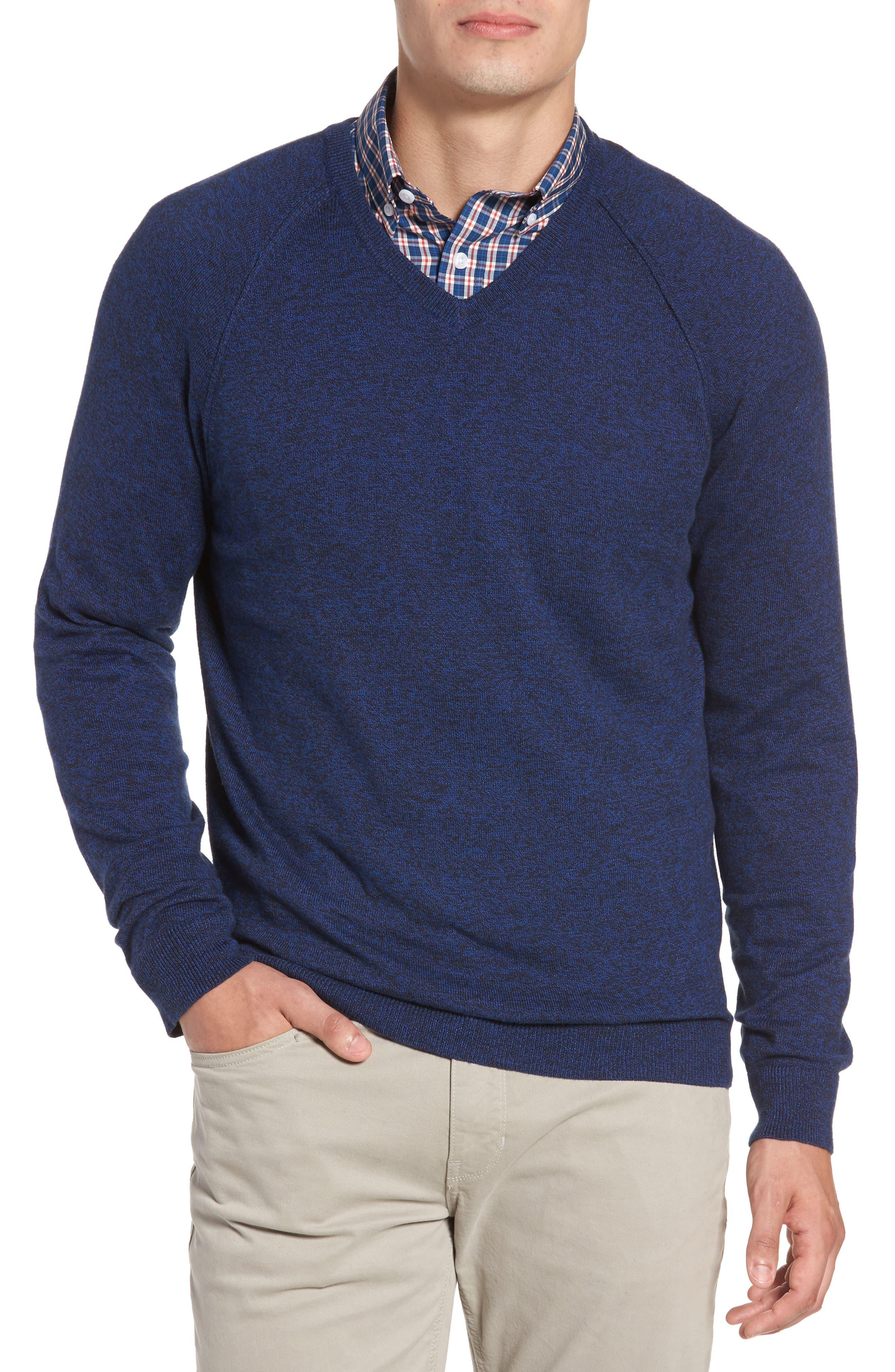 Nordstrom Men's Shop Saddle Shoulder Cotton & Cashmere V-Neck Sweater