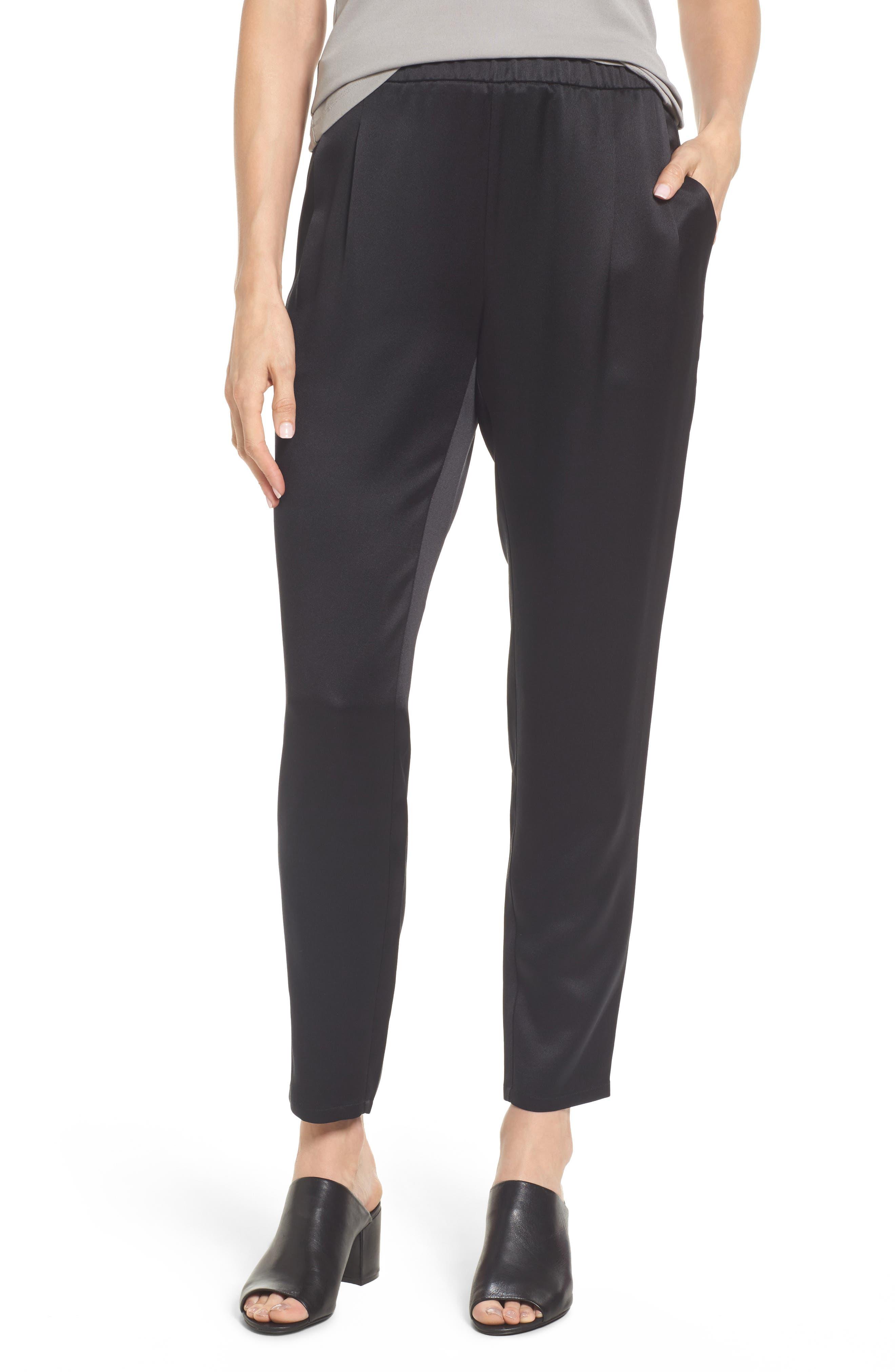Slouchy Silk Pants,                         Main,                         color, Black