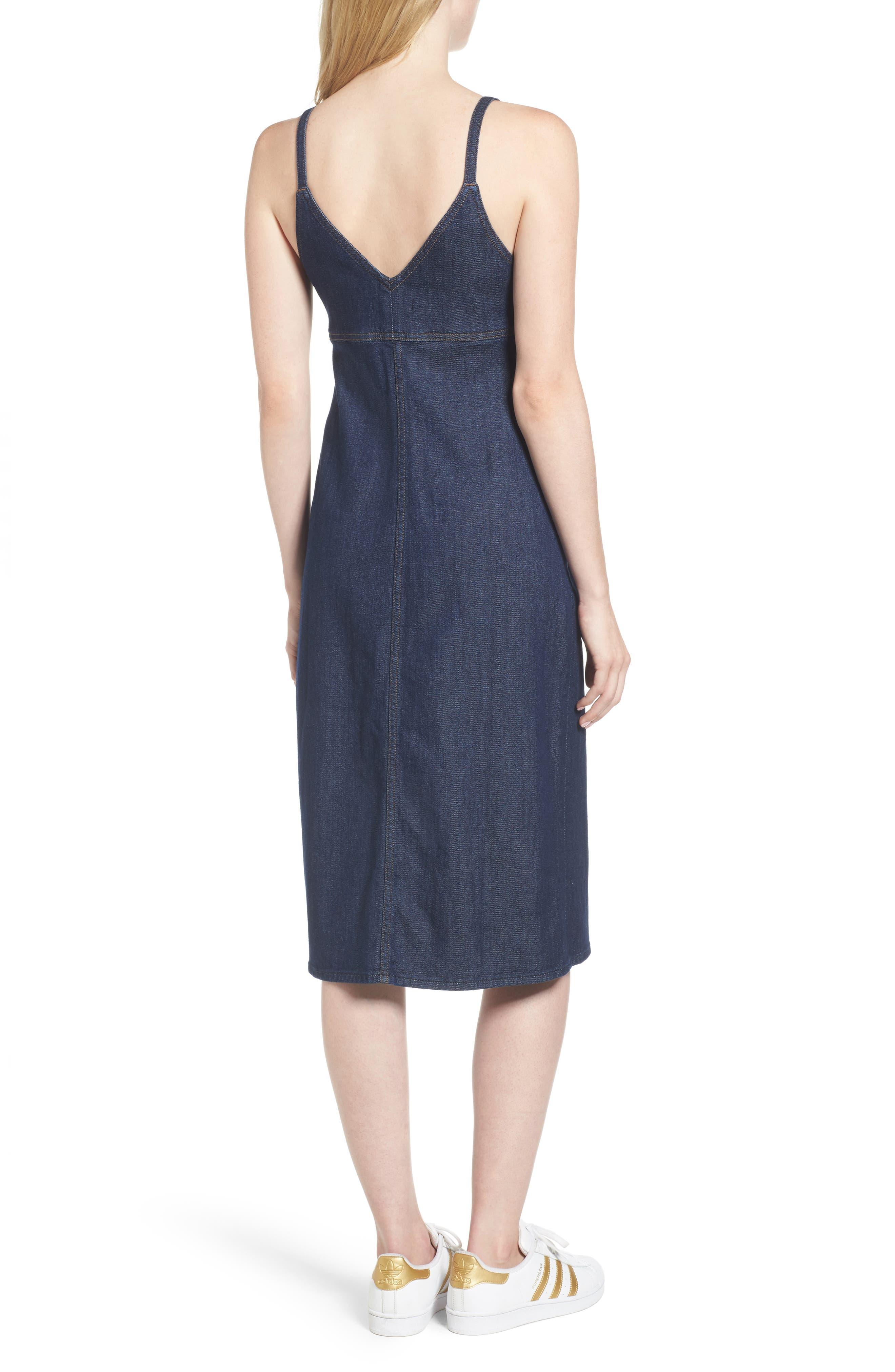 Denim Midi Dress,                             Alternate thumbnail 2, color,                             Nightfall
