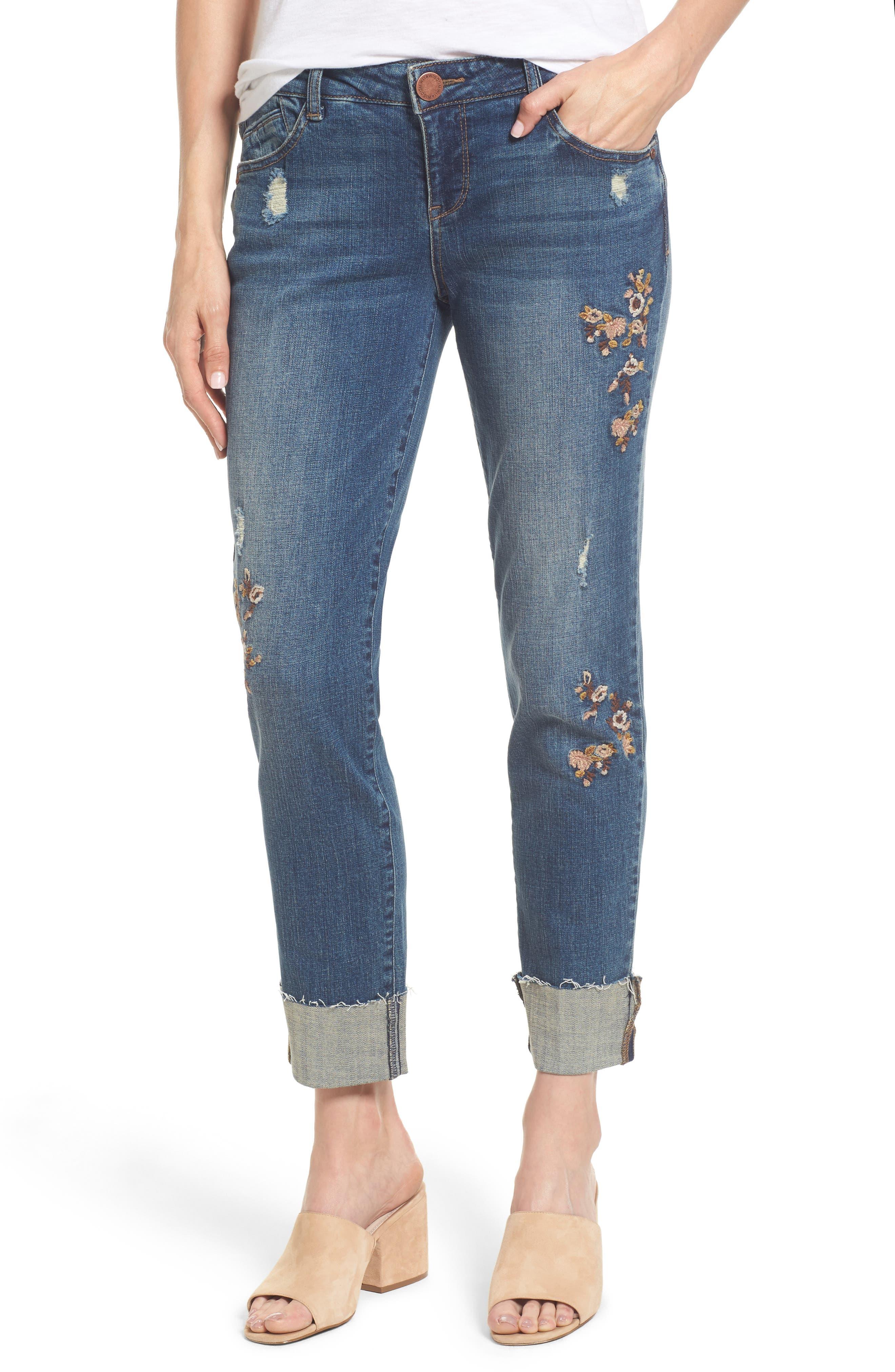 Flex-ellent Embroidered Boyfriend Jeans,                             Main thumbnail 1, color,                             Blue