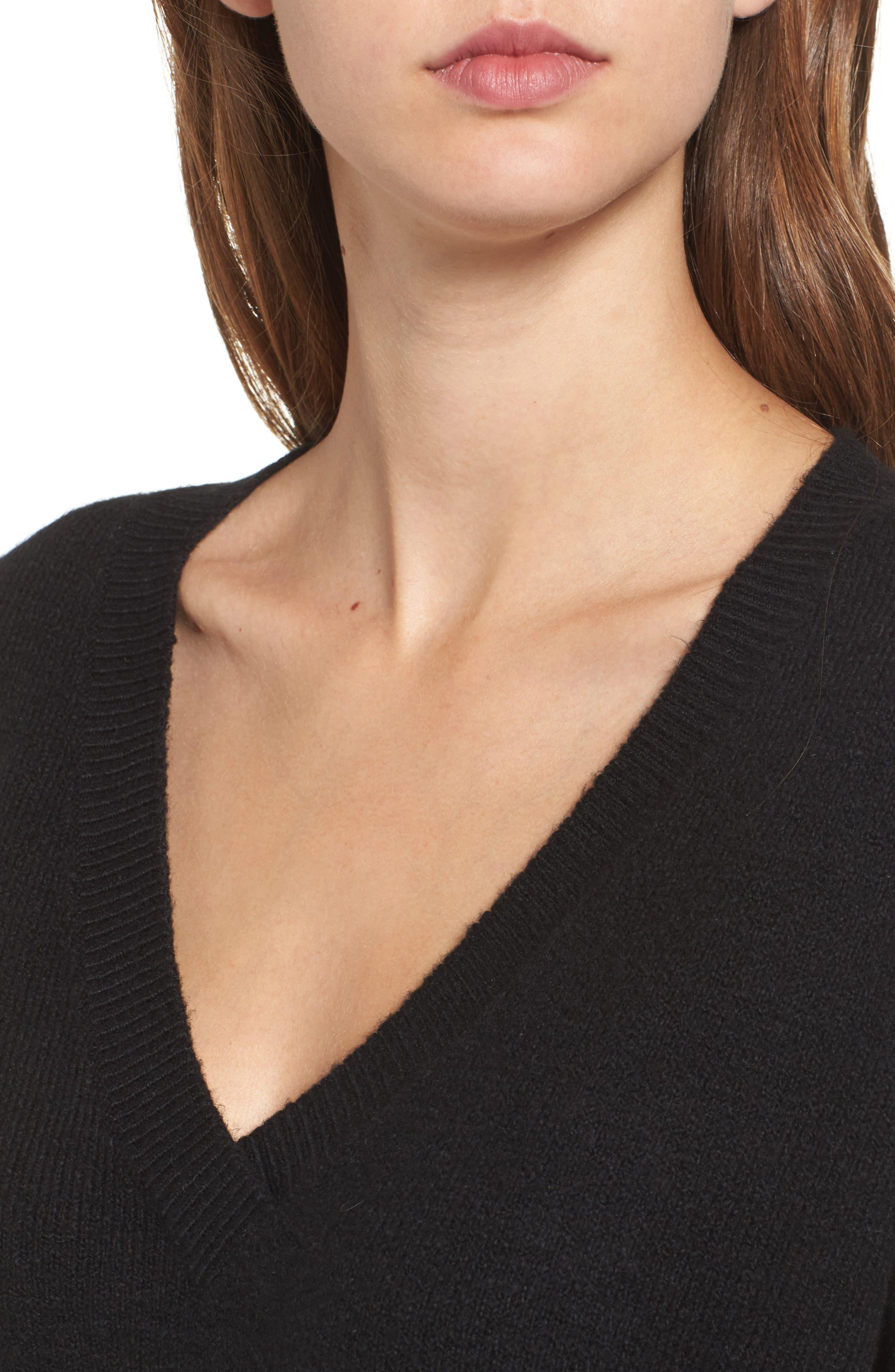 V-Neck High/Low Sweater,                             Alternate thumbnail 3, color,                             Black