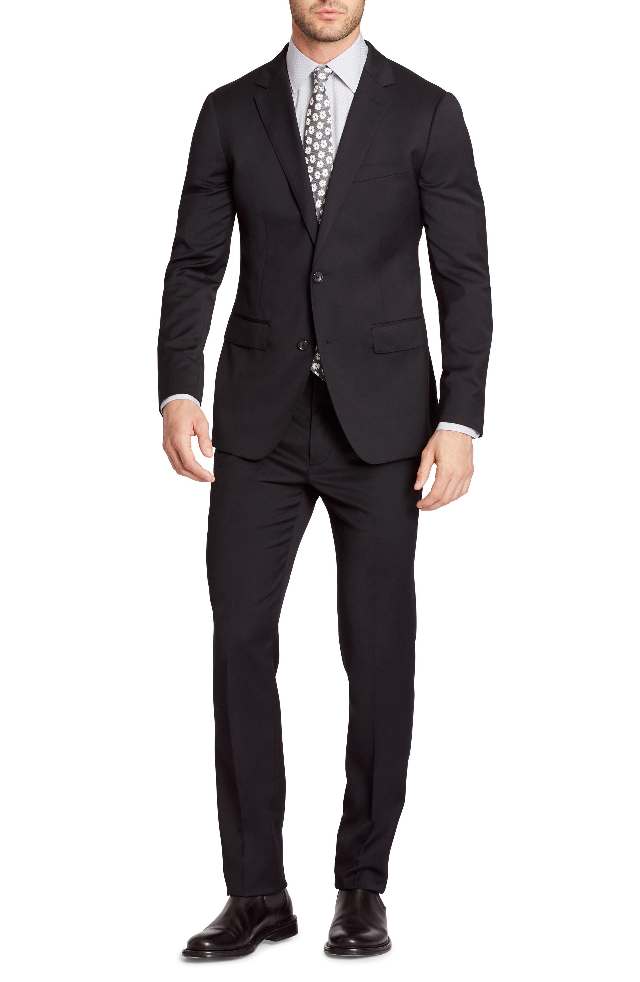 Jetsetter Trim Fit Stretch Wool Suit Jacket,                             Alternate thumbnail 6, color,                             Black