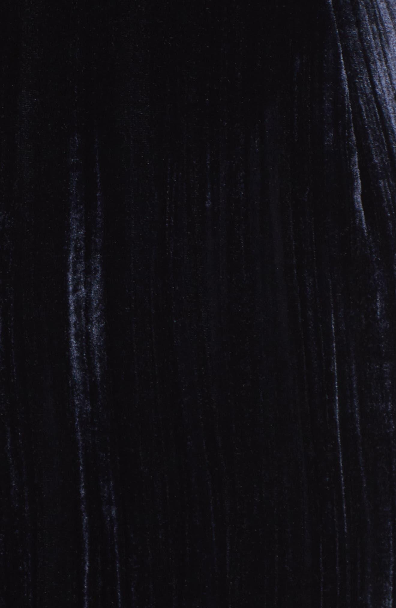 One-Shoulder Velvet Gown,                             Alternate thumbnail 5, color,                             Navy