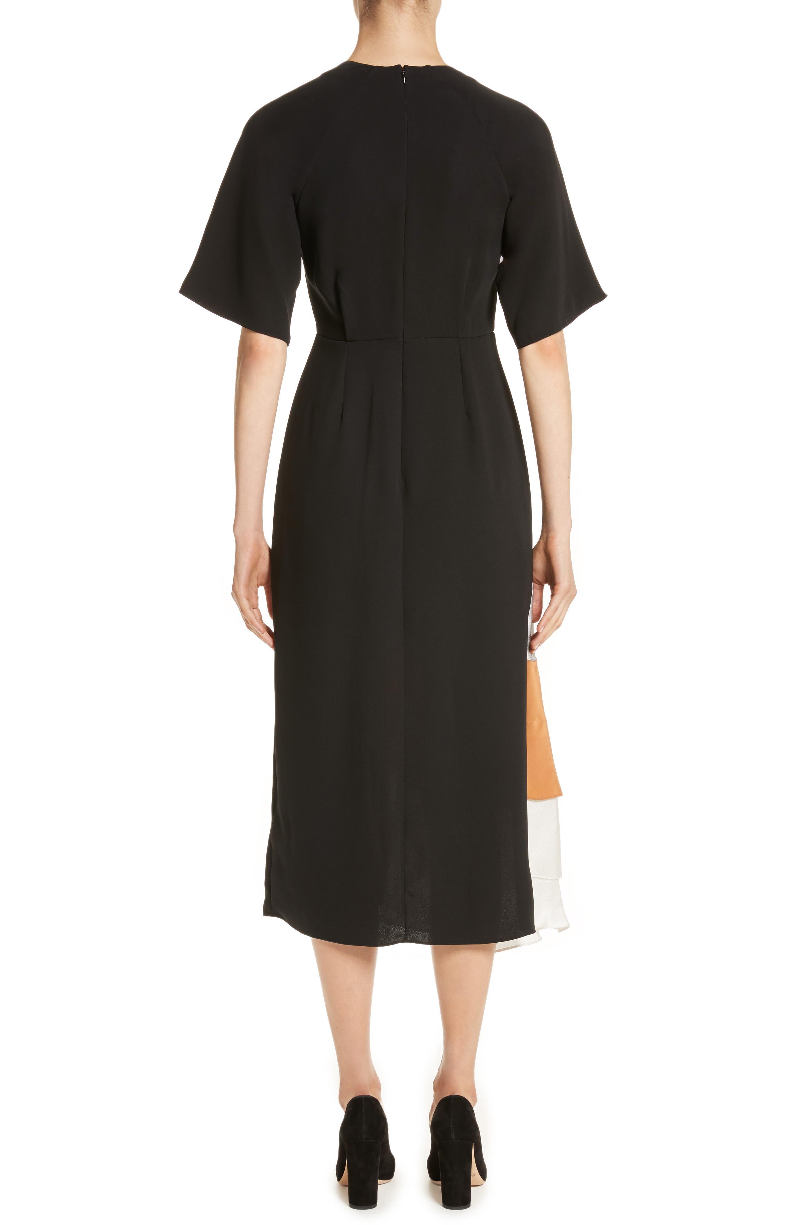 Rauma Silk Dress,                             Alternate thumbnail 2, color,                             Black/ Silver/ Sand/ Ivory