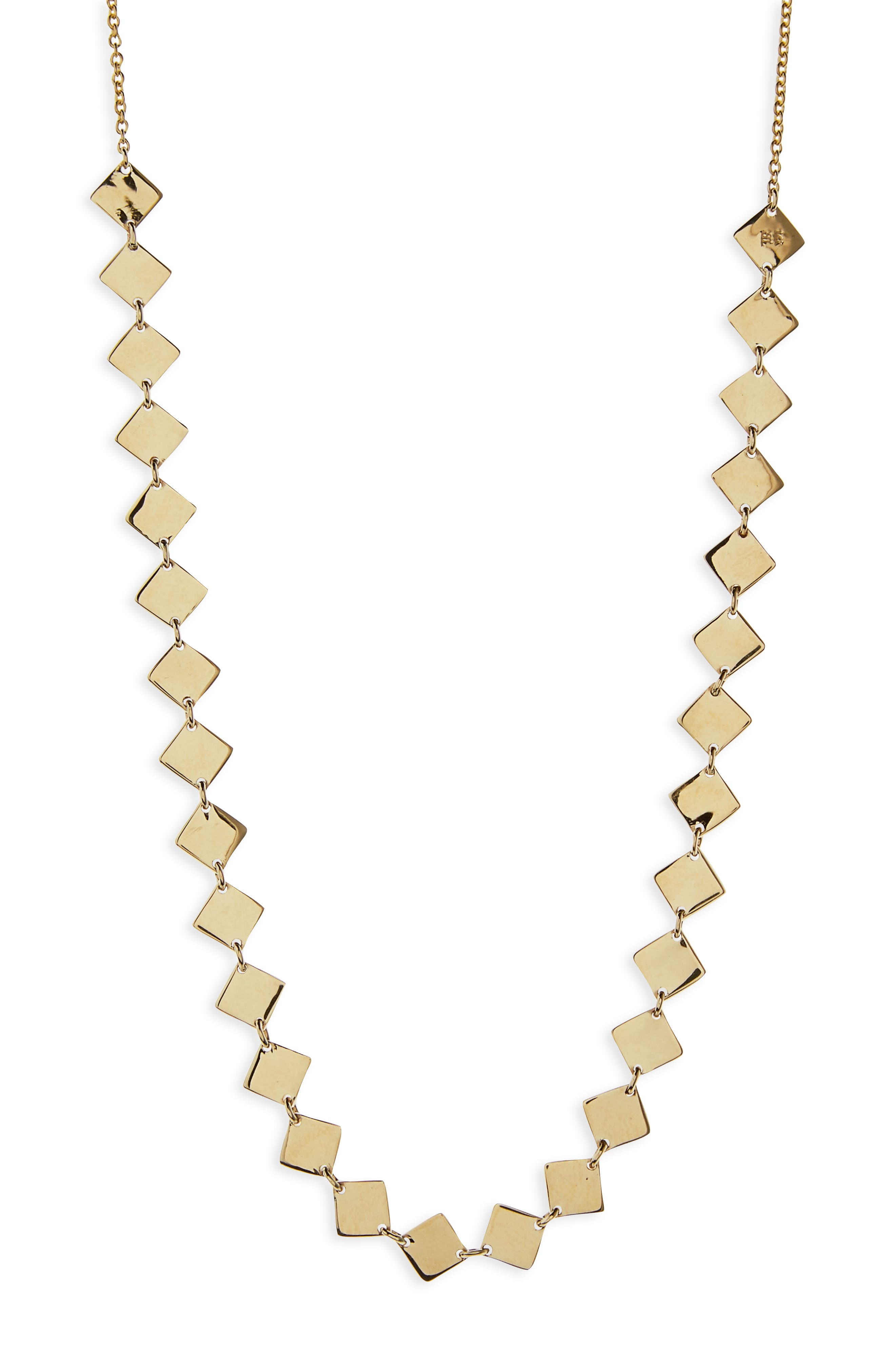 Side Square Choker Necklace,                             Alternate thumbnail 2, color,                             Yellow Gold
