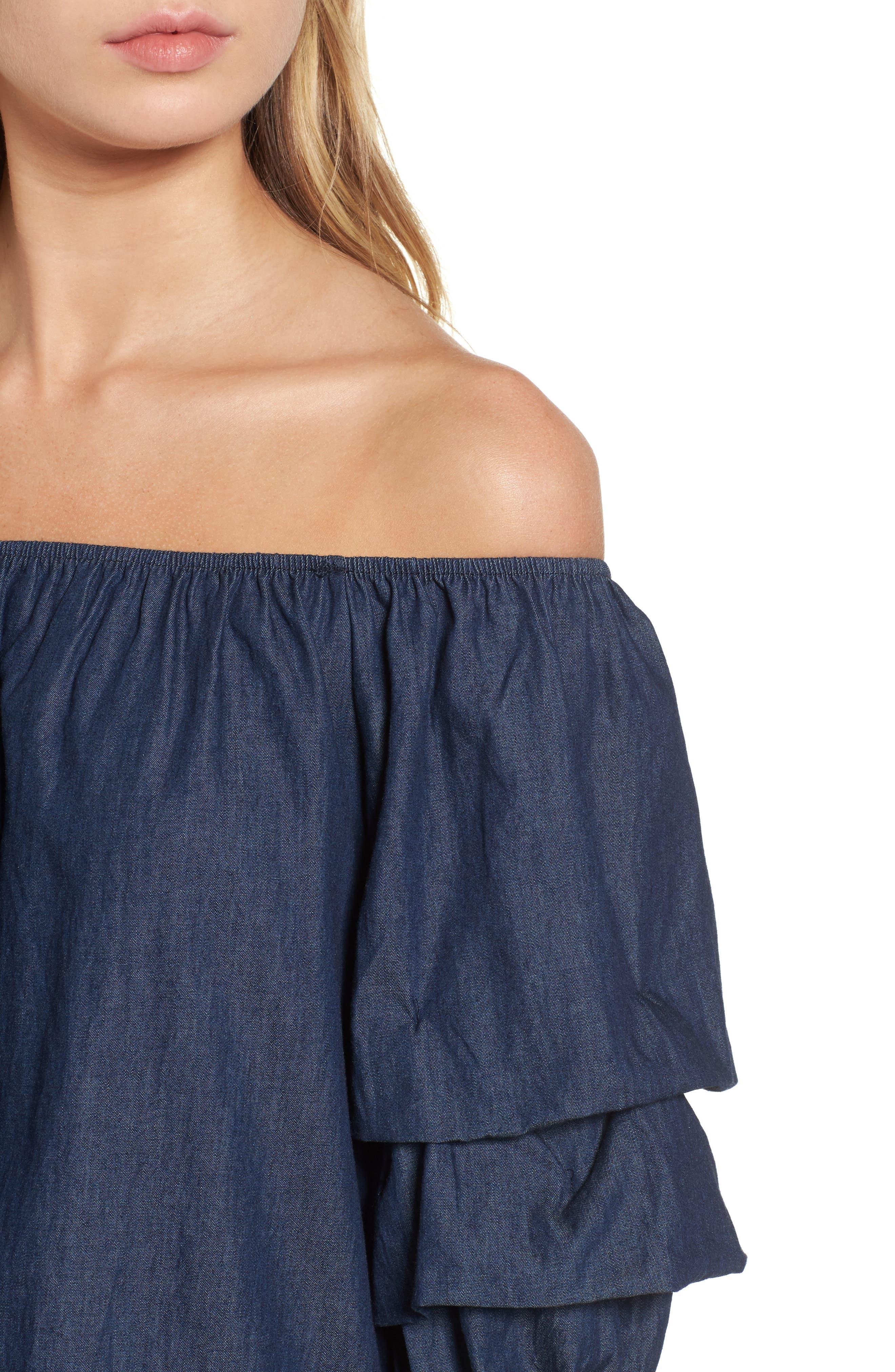 Alternate Image 4  - BP. Off the Shoulder Denim Dress
