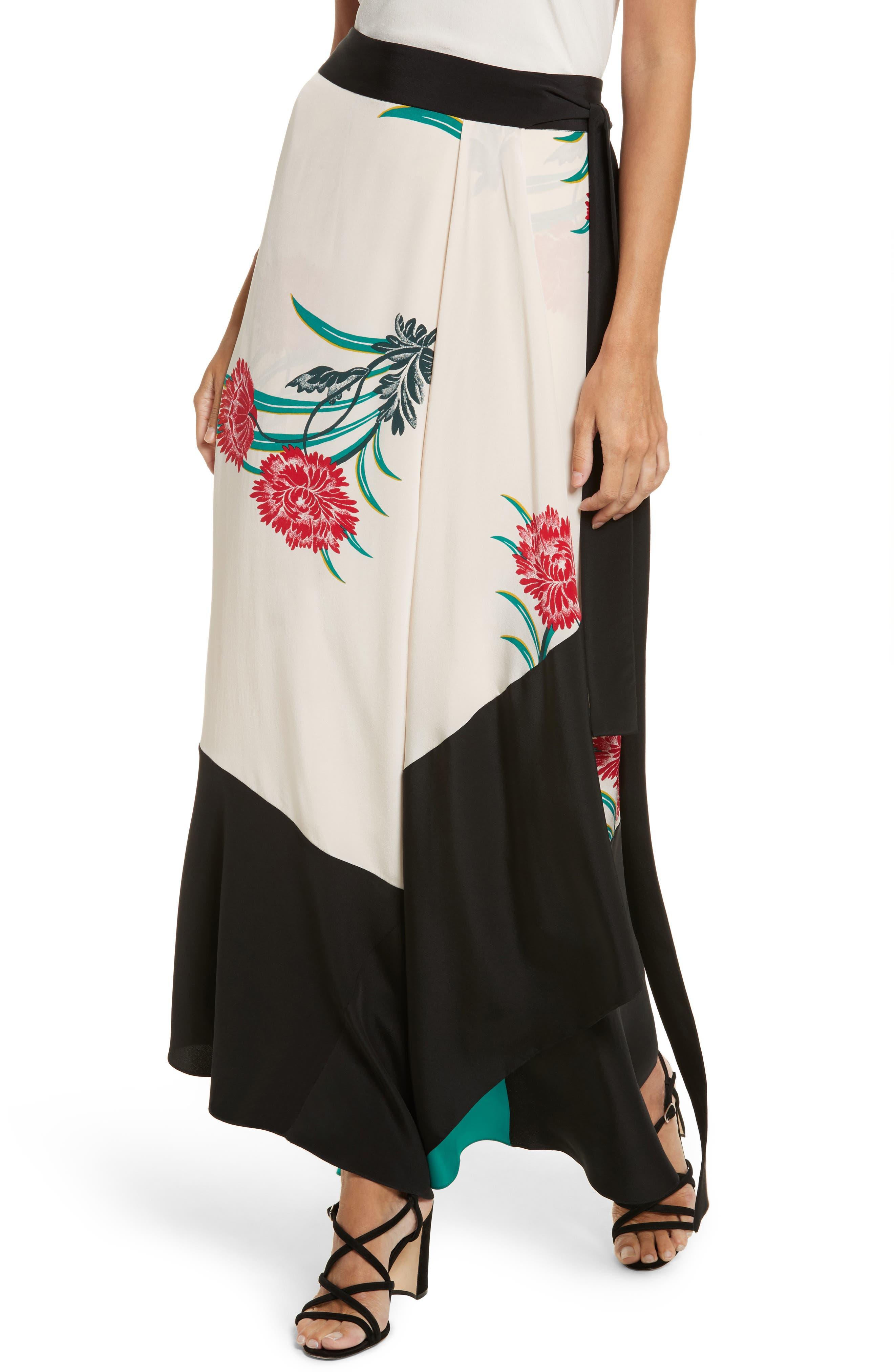 Draped Wrap Silk Midi Skirt,                             Alternate thumbnail 4, color,                             Farren Pearl/ Black/ Jade