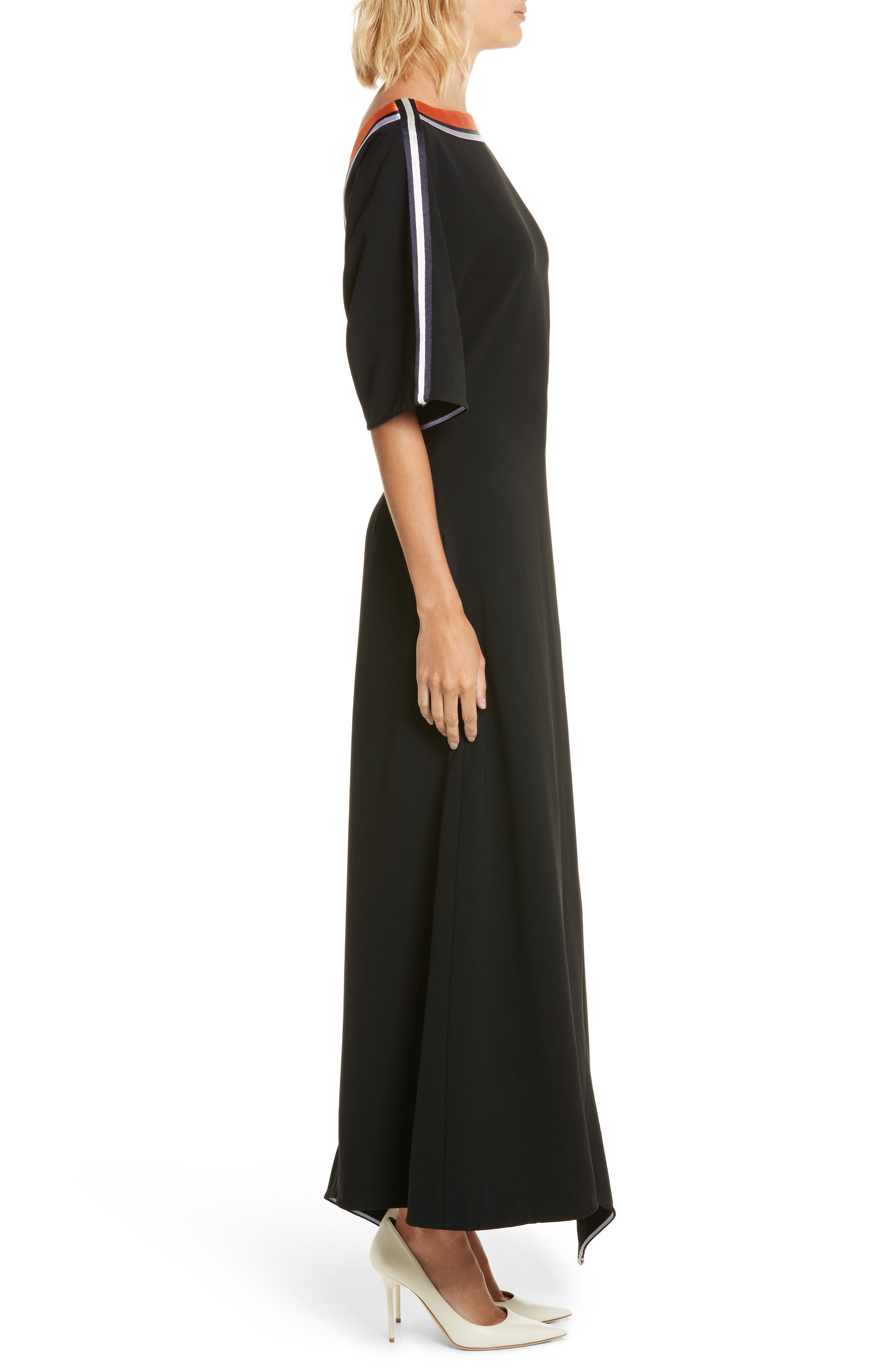Open Back Ribbon Trim Dress,                             Alternate thumbnail 3, color,                             Black