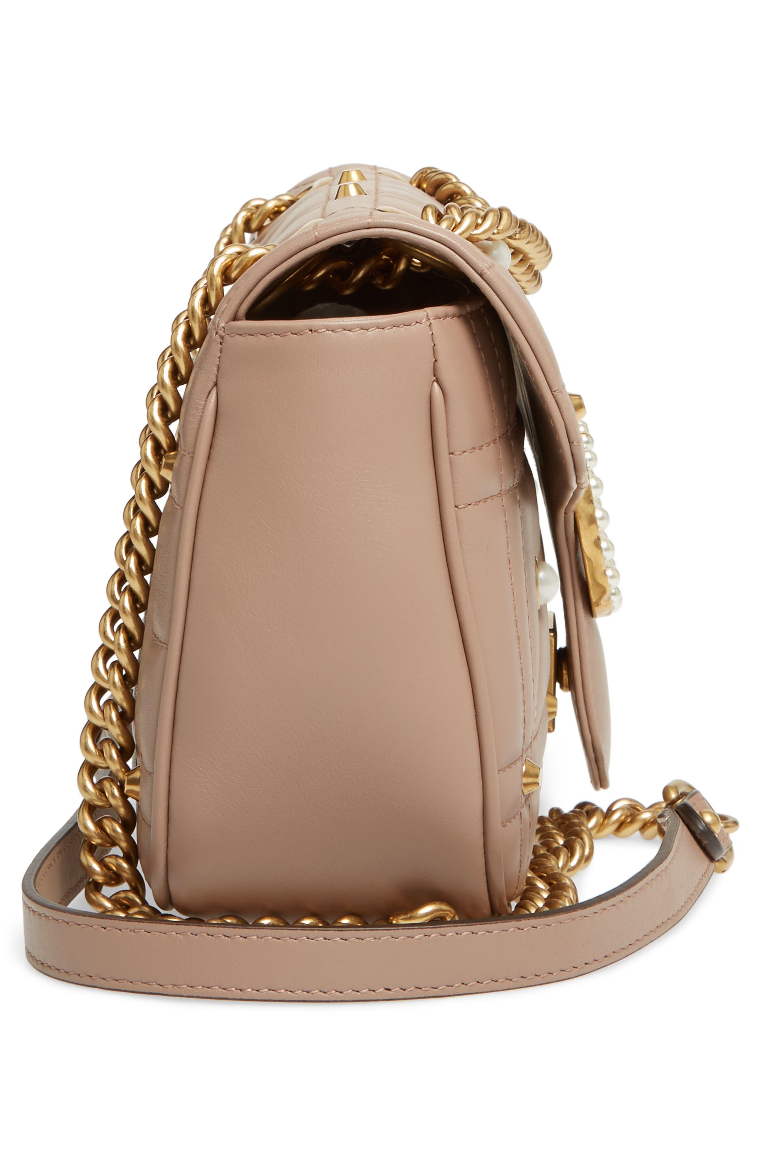 GG Marmont Matelassé Imitation Pearl Leather Shoulder Bag,                             Alternate thumbnail 4, color,                             White/ Pink