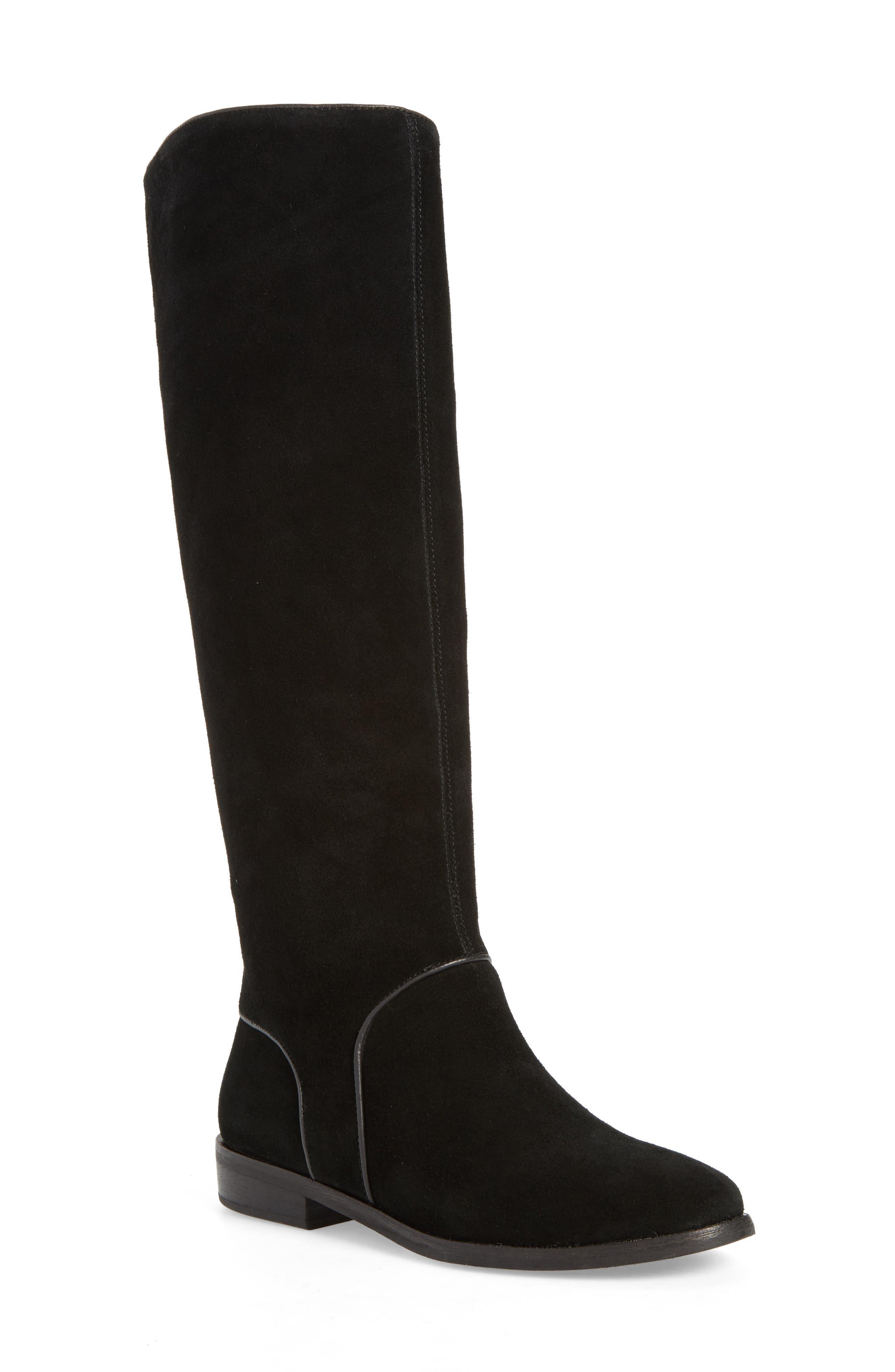 Gracen Knee High Boot,                             Main thumbnail 1, color,                             Black Suede