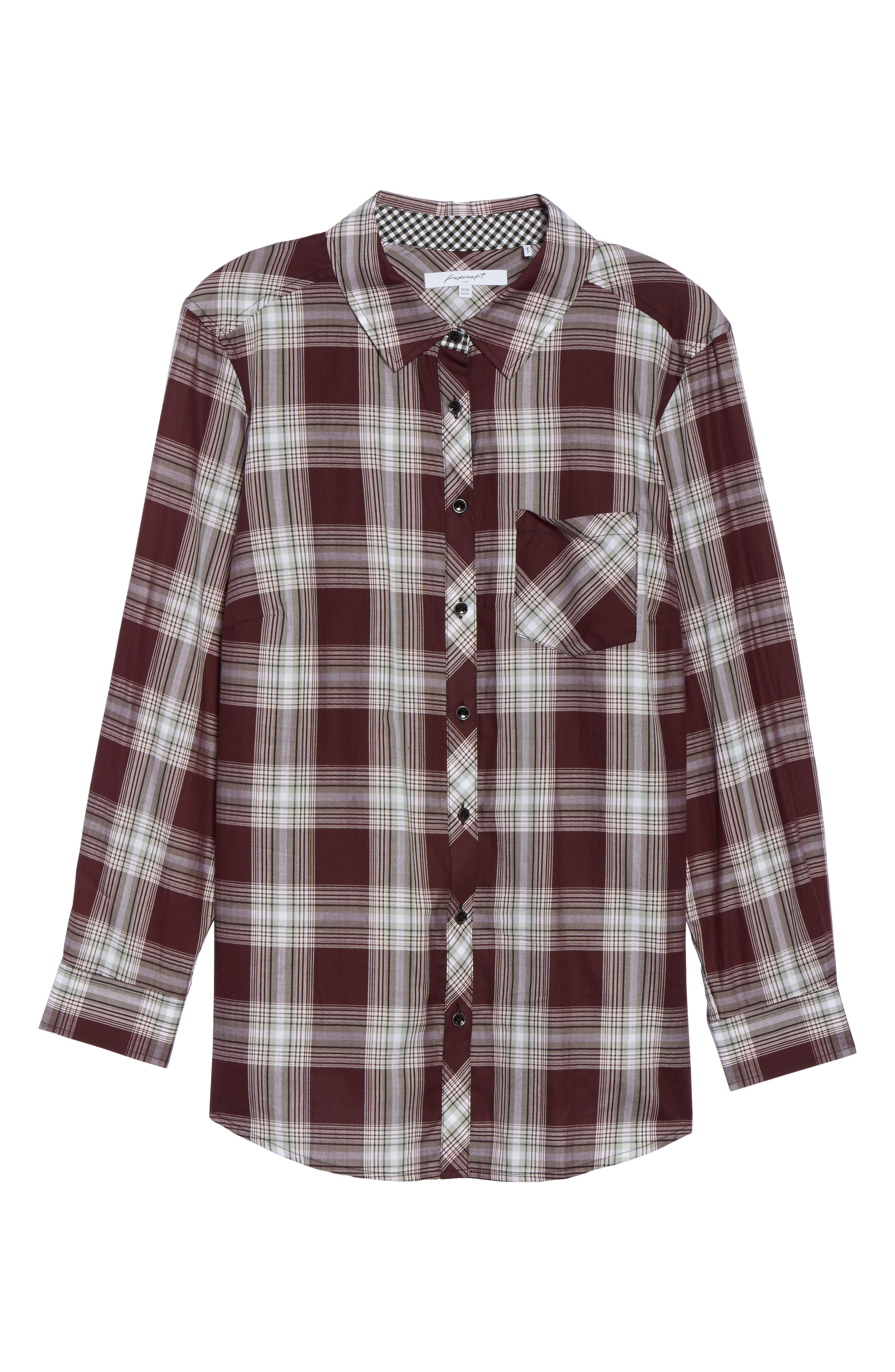 Alternate Image 6  - Foxcroft Addison Plaid Cotton Shirt (Plus Size)