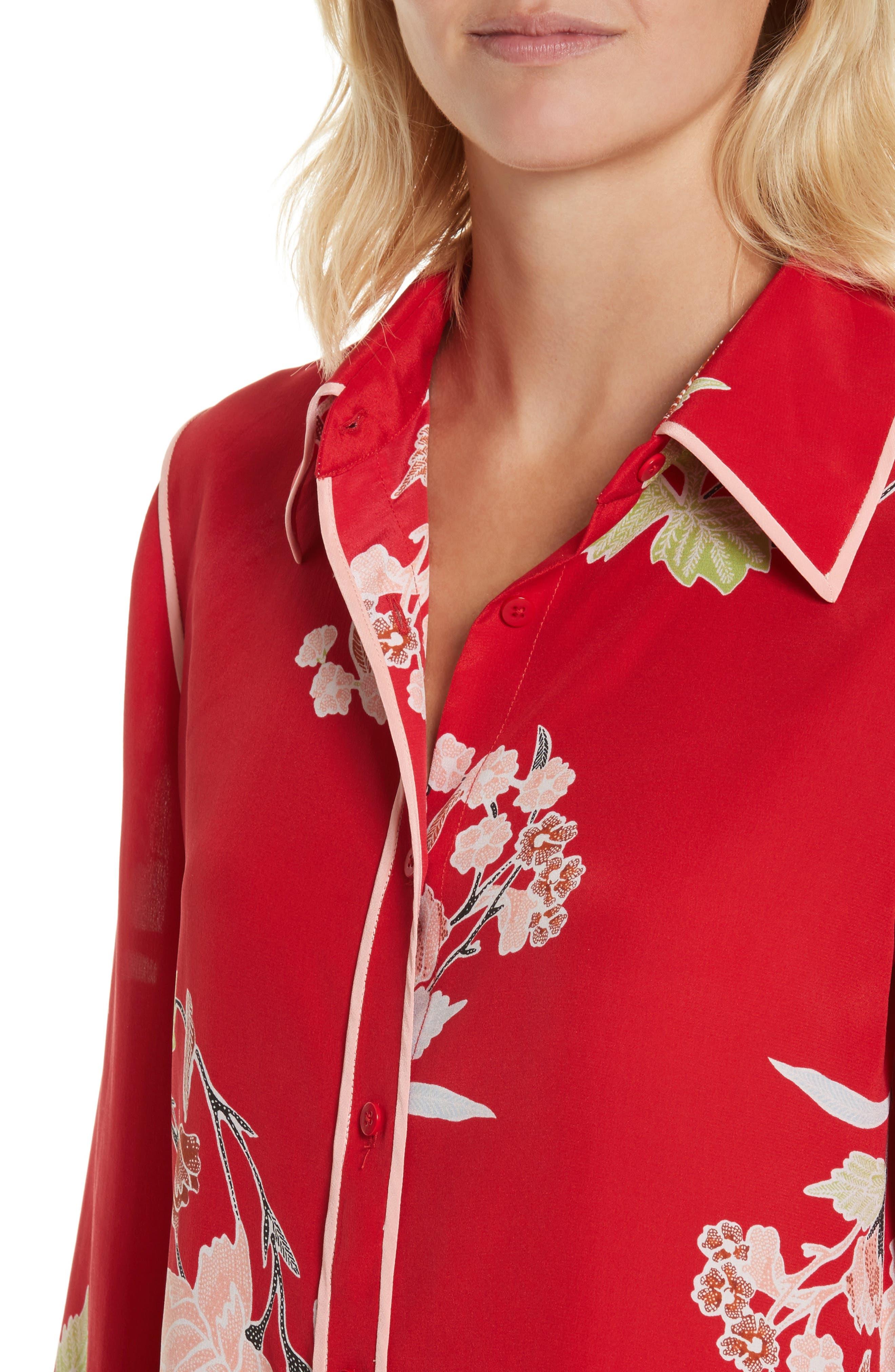 Alternate Image 4  - Diane von Furstenberg Floral Print Silk Shirt