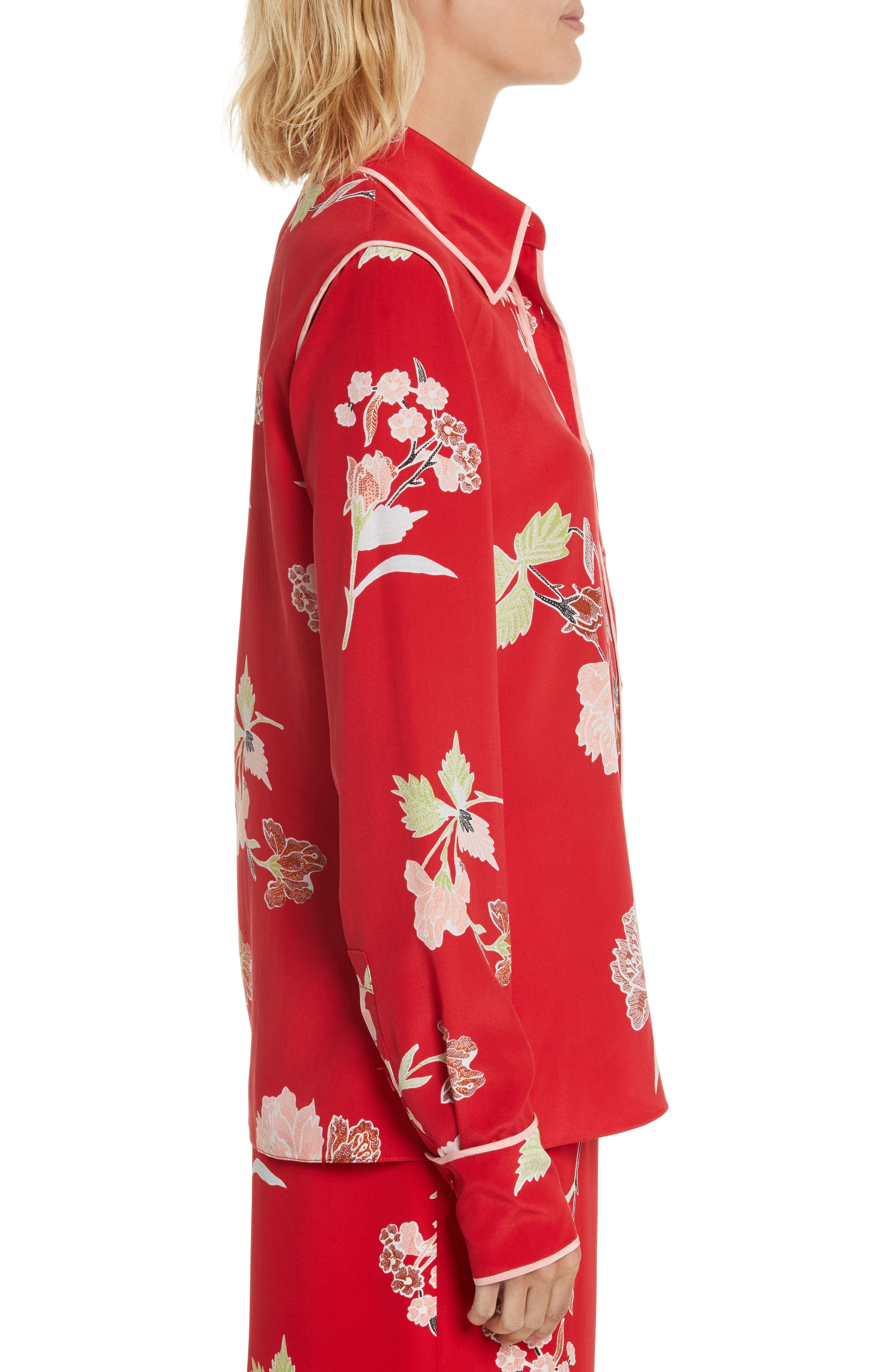 Alternate Image 3  - Diane von Furstenberg Floral Print Silk Shirt