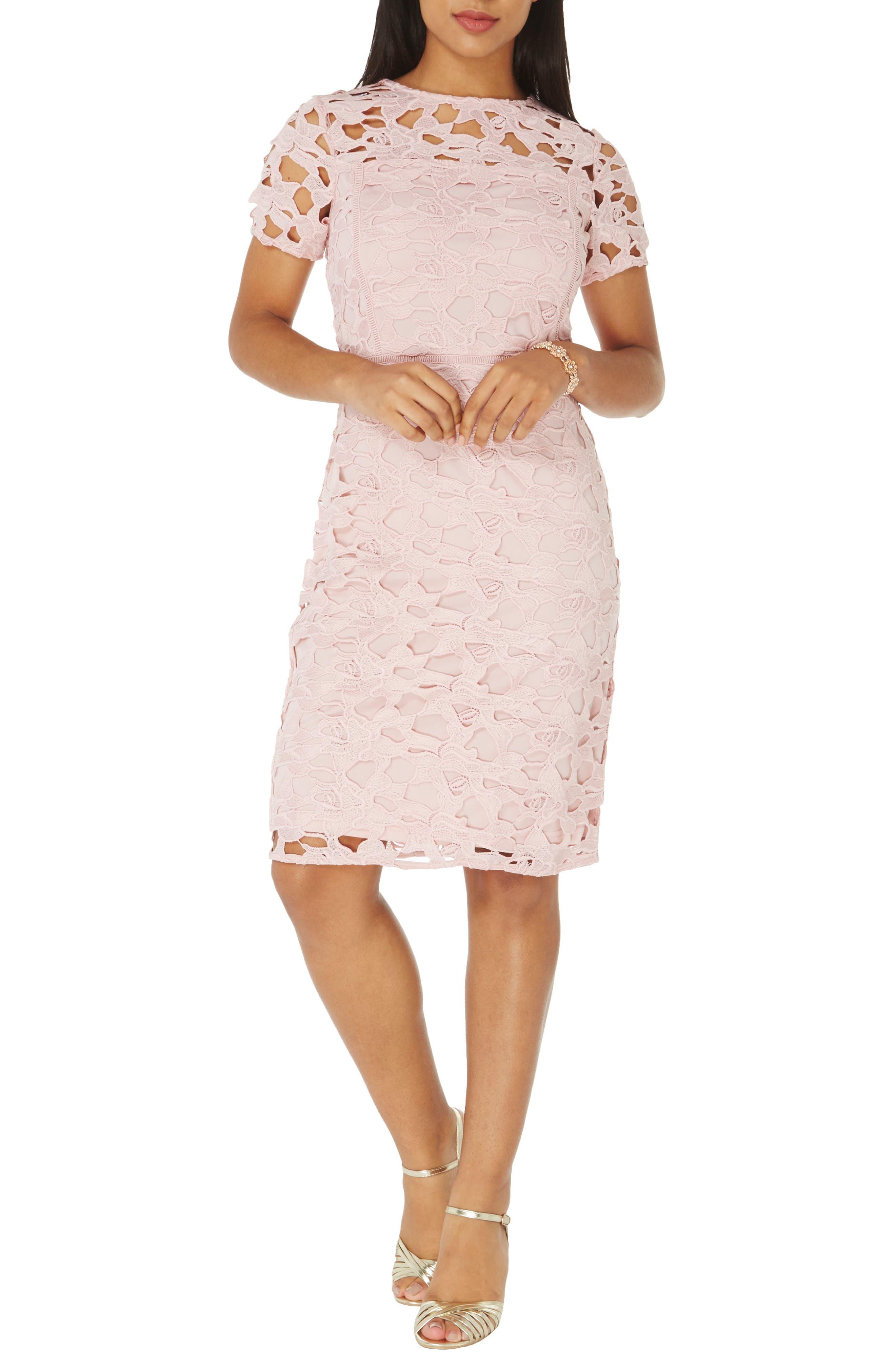Lace Sheath Dress,                         Main,                         color, Pink