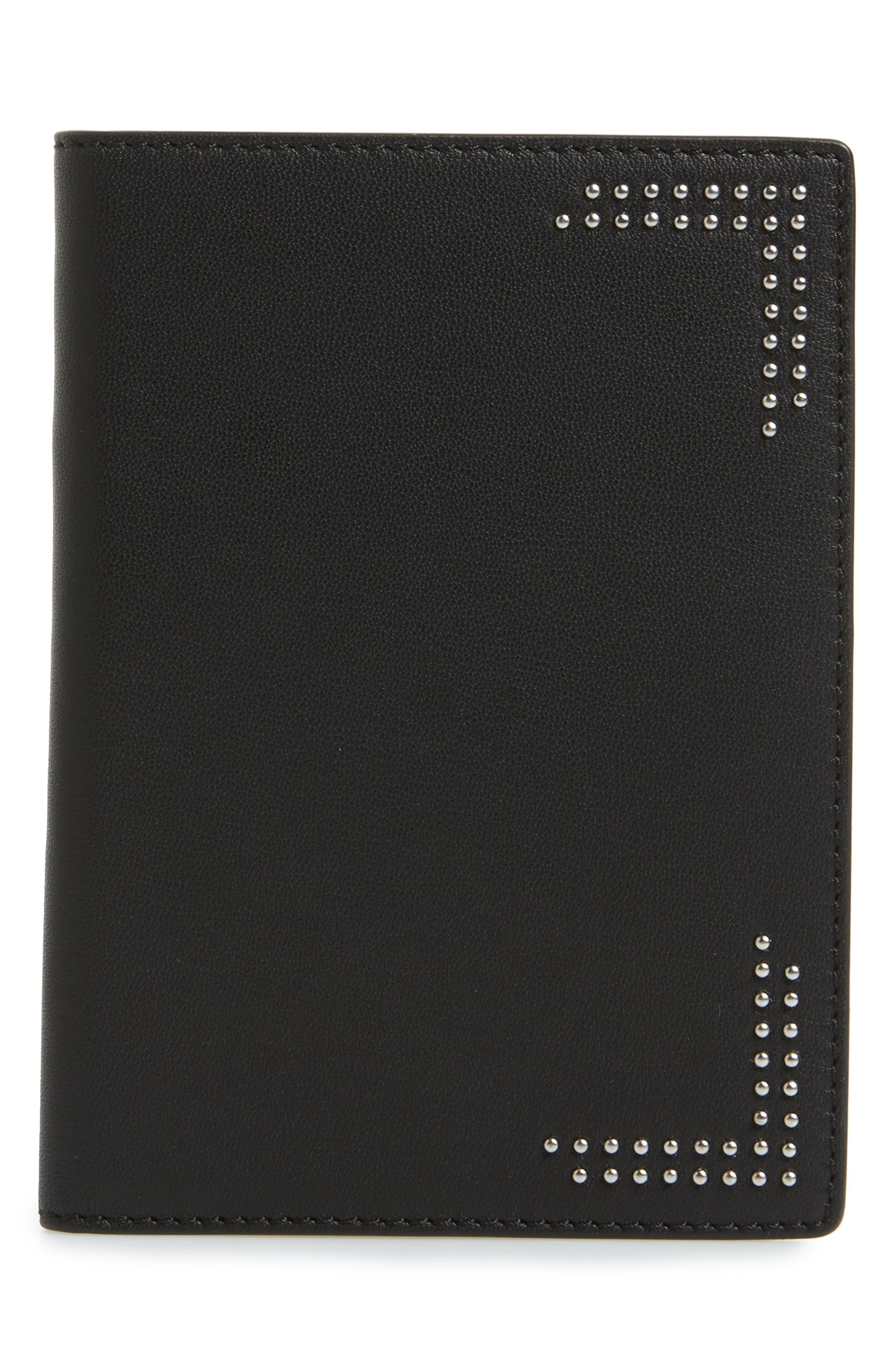 Studded Nappa Leather Passport Holder,                             Main thumbnail 1, color,                             Black