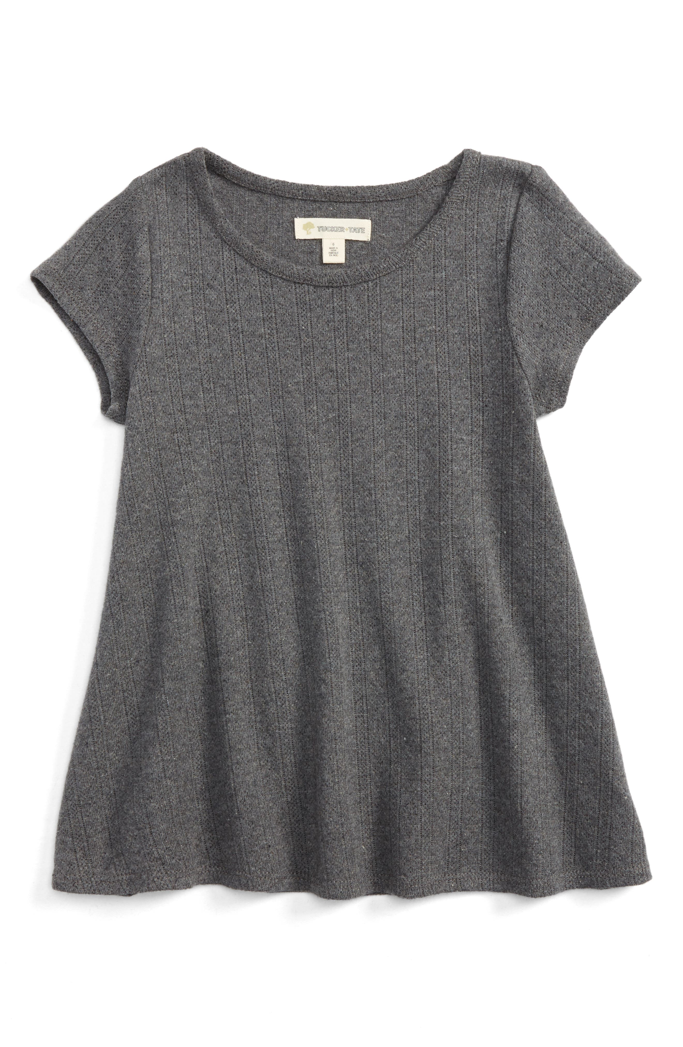 Pointelle Tee,                         Main,                         color, Grey Charcoal Heather