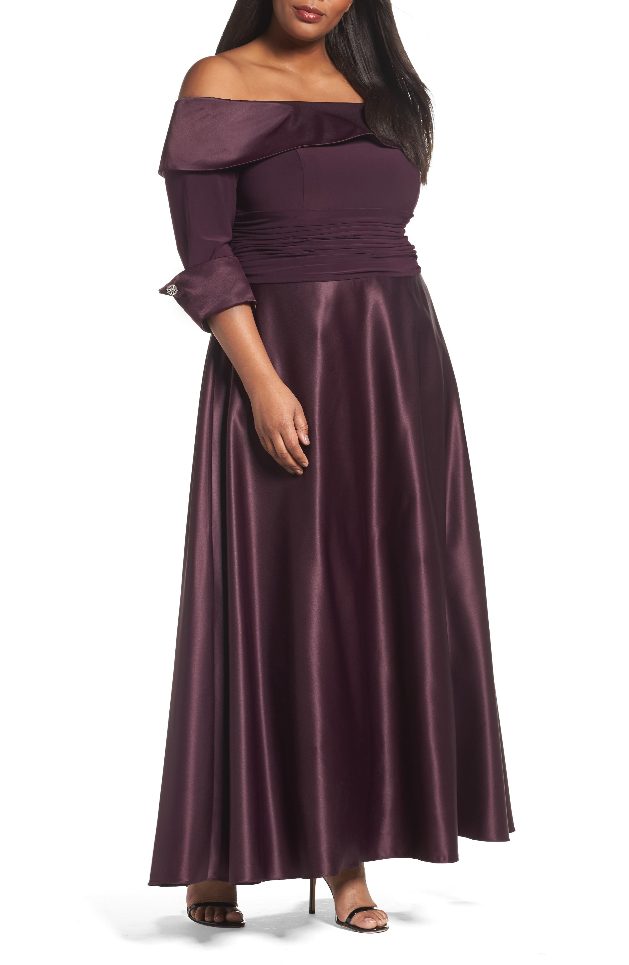 Off the Shoulder Mixed Media Gown,                             Main thumbnail 1, color,                             Plum