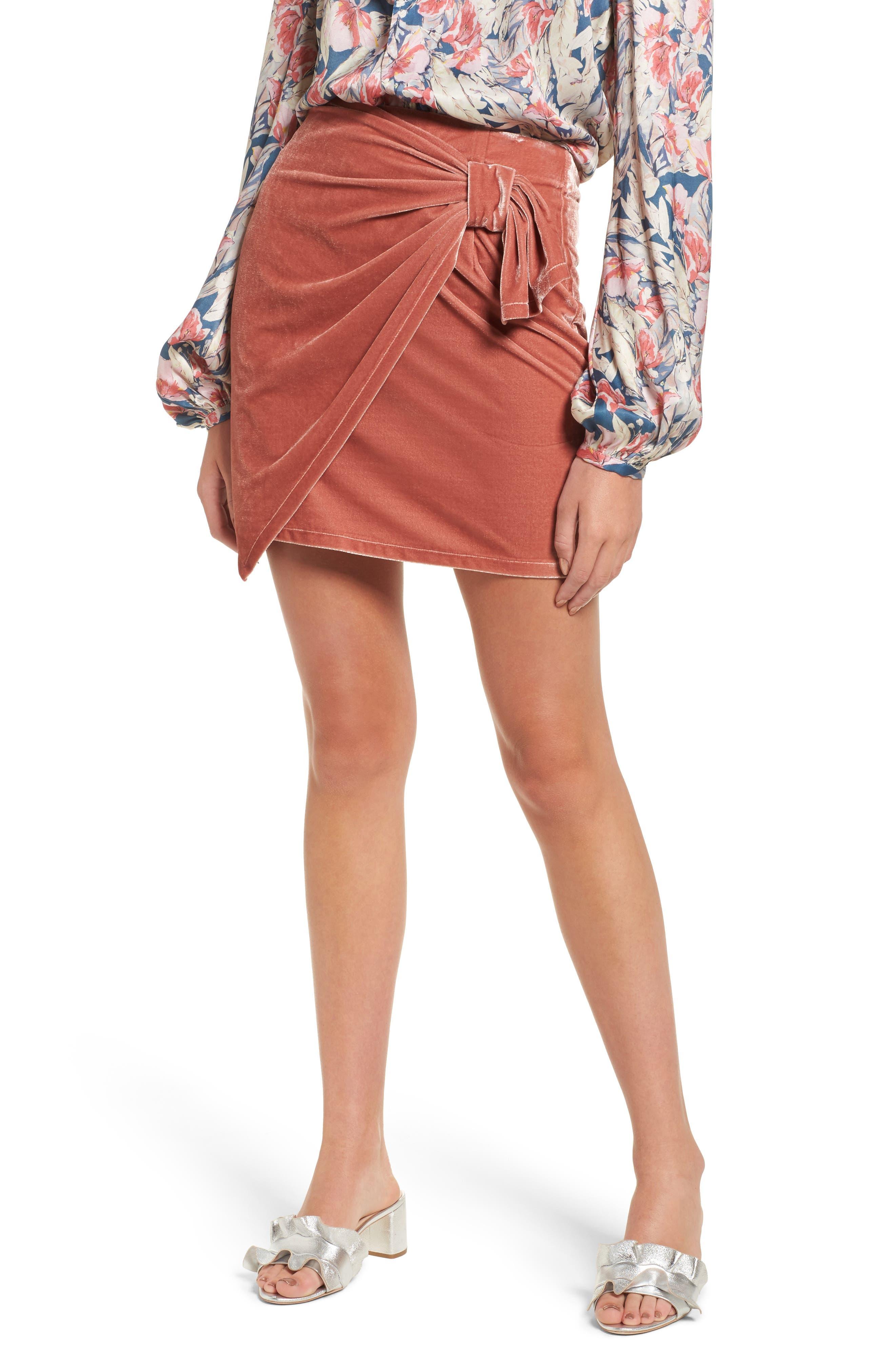 Katie Faux Wrap Skirt,                         Main,                         color, Wild Rose