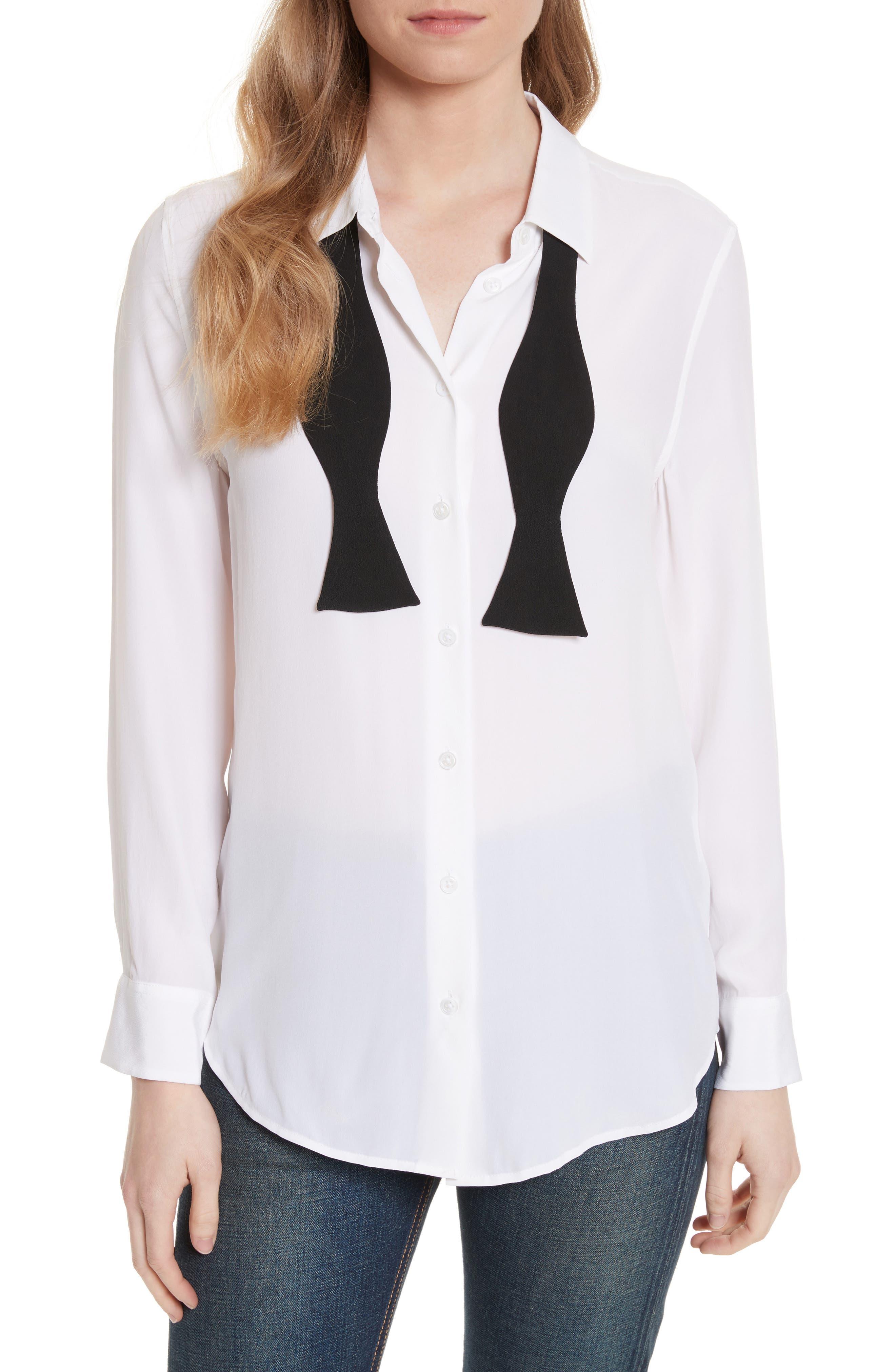 Essential Bow Tie Silk Shirt,                             Main thumbnail 1, color,                             Bright White