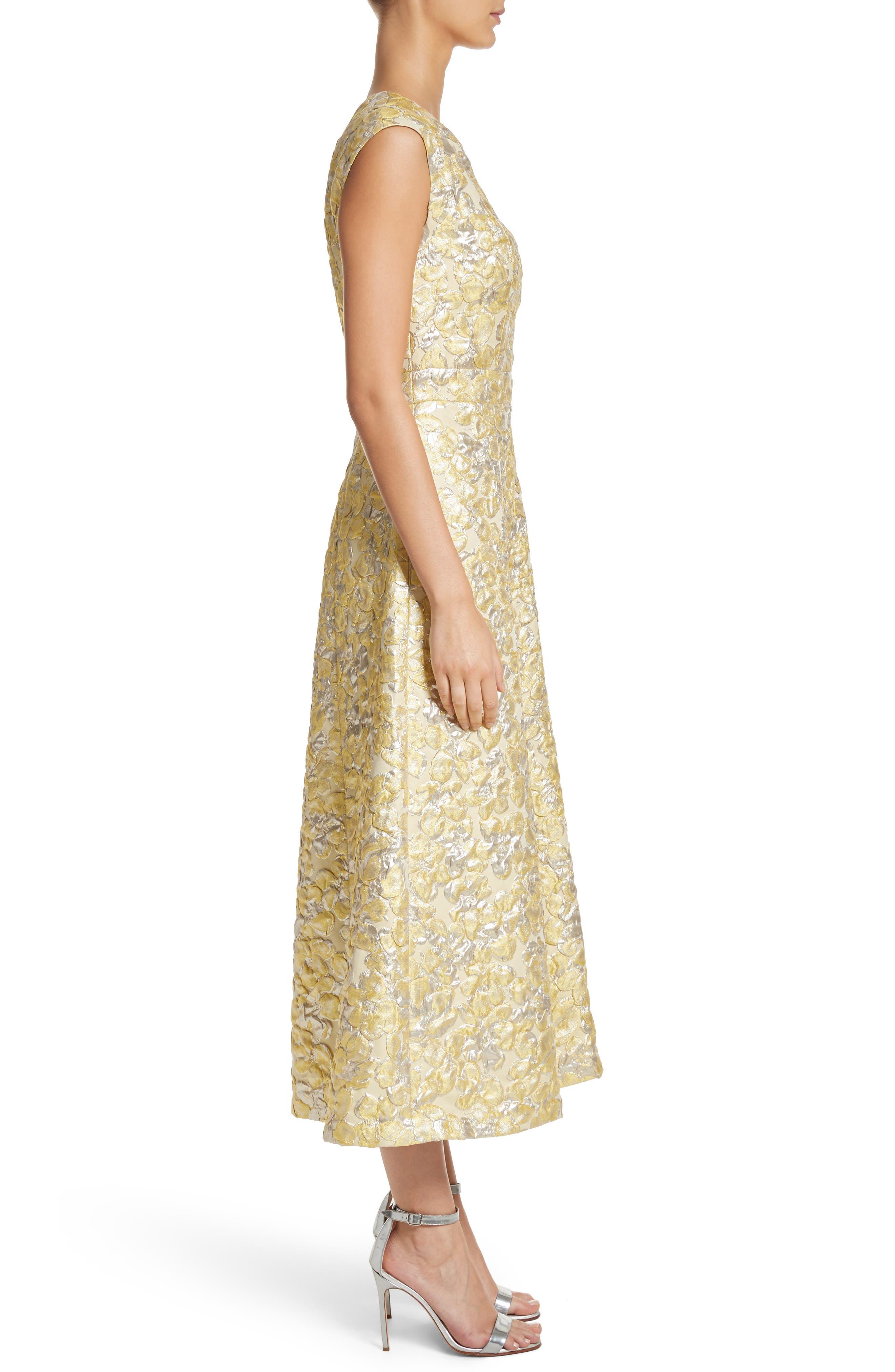 Metallic Floral Jacquard Dress,                             Alternate thumbnail 3, color,                             Lemon Multi