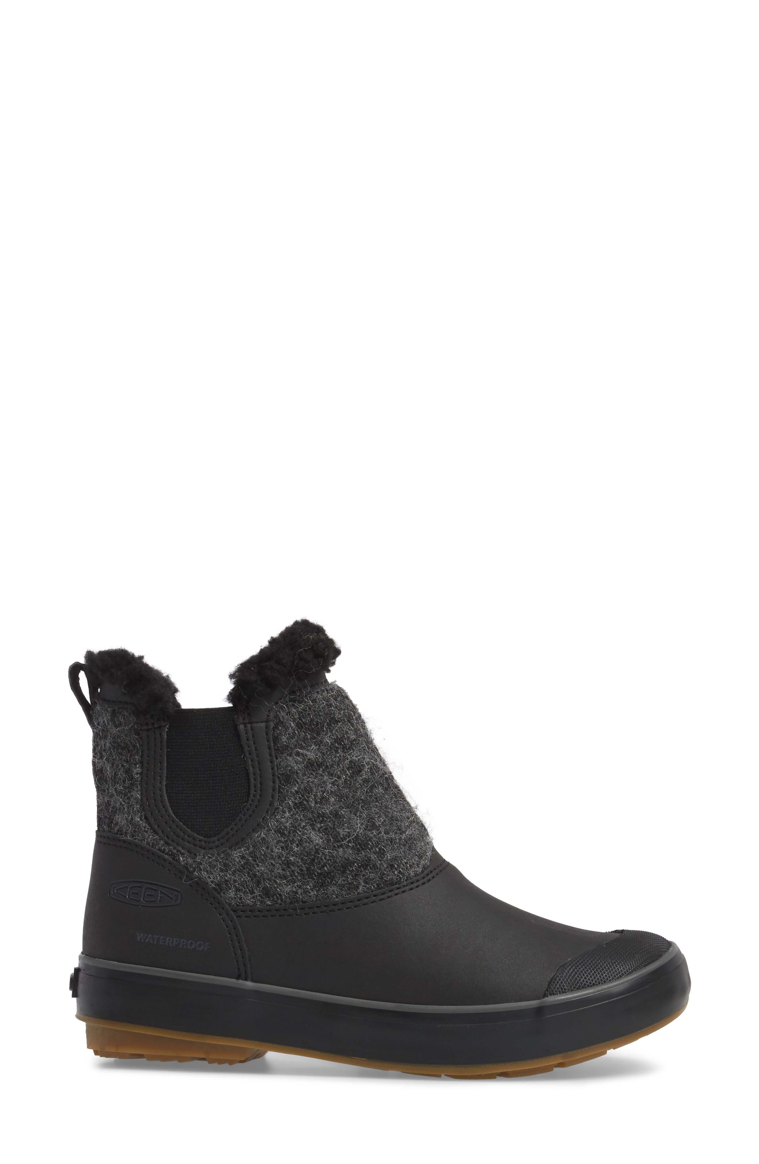 Elsa Chelsea Waterproof Faux Fur Lined Boot,                             Alternate thumbnail 3, color,                             Black Wool Leather