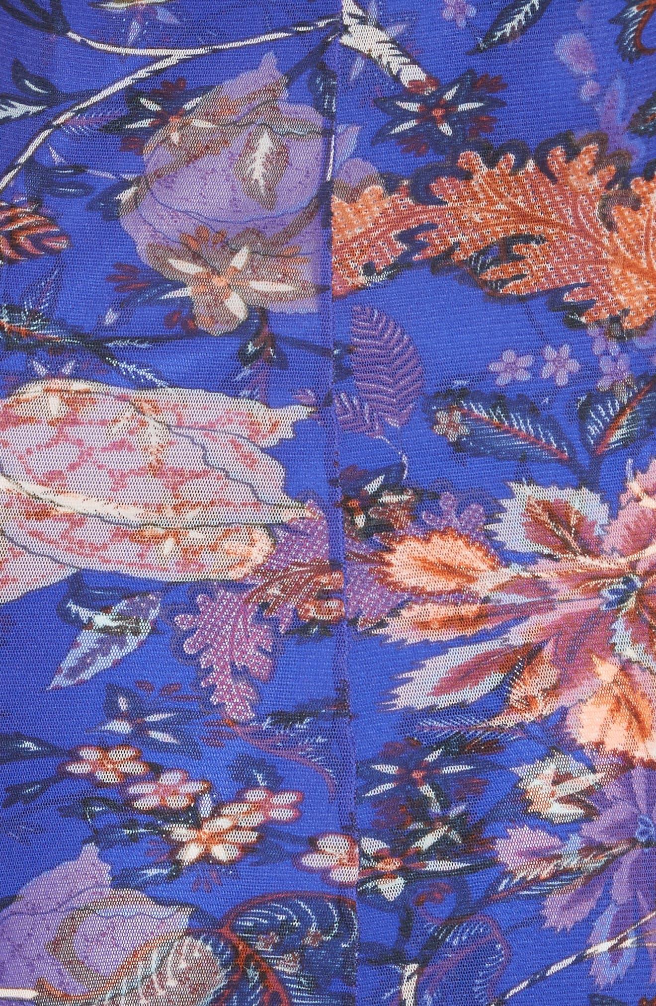 Diane von Furstenberg Mesh Overlay Floral Midi Dress,                             Alternate thumbnail 5, color,                             Canton Electric Blue