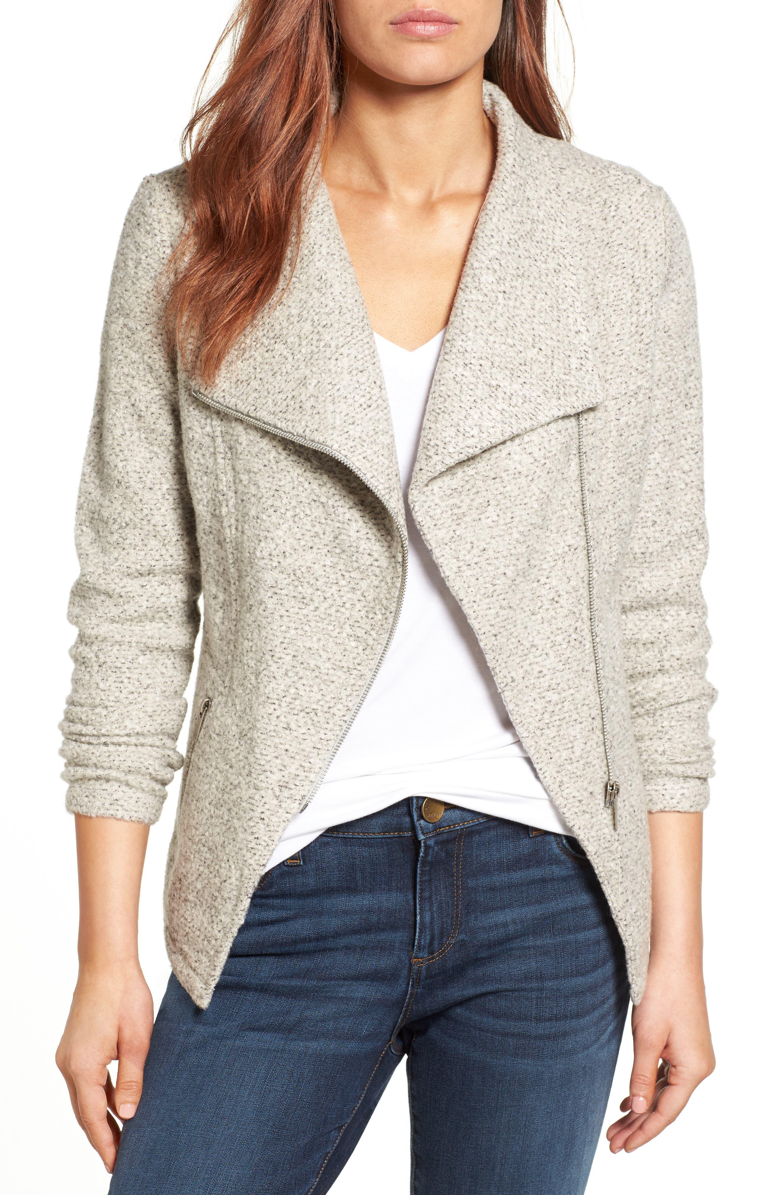Knit Moto Jacket,                         Main,                         color, Heather Grey