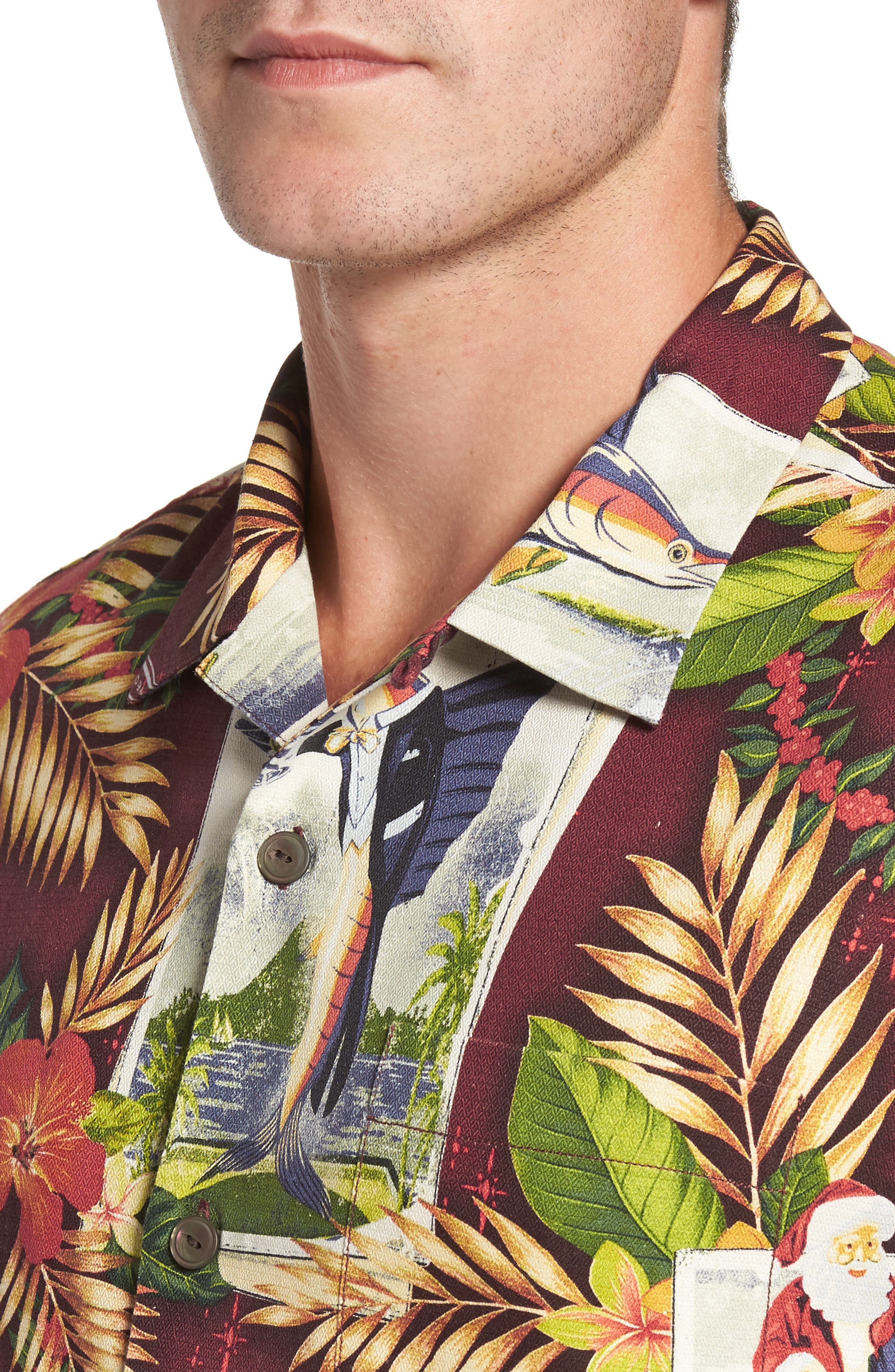 Tommy Holidays Silk Woven Shirt,                             Alternate thumbnail 4, color,                             Ruby Wine