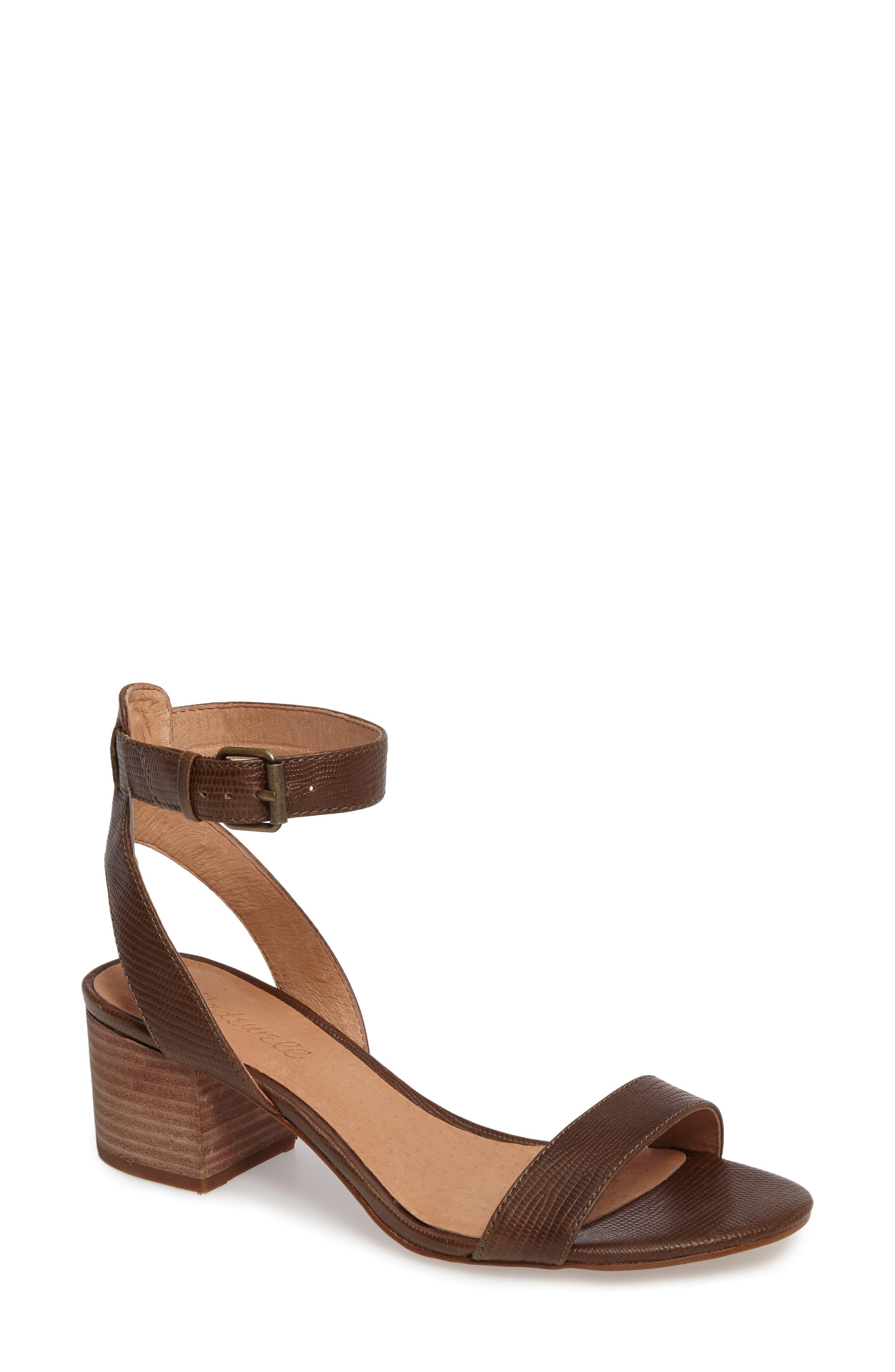 Alice Embossed Ankle Wrap Sandal,                         Main,                         color, Safari Khaki Leather