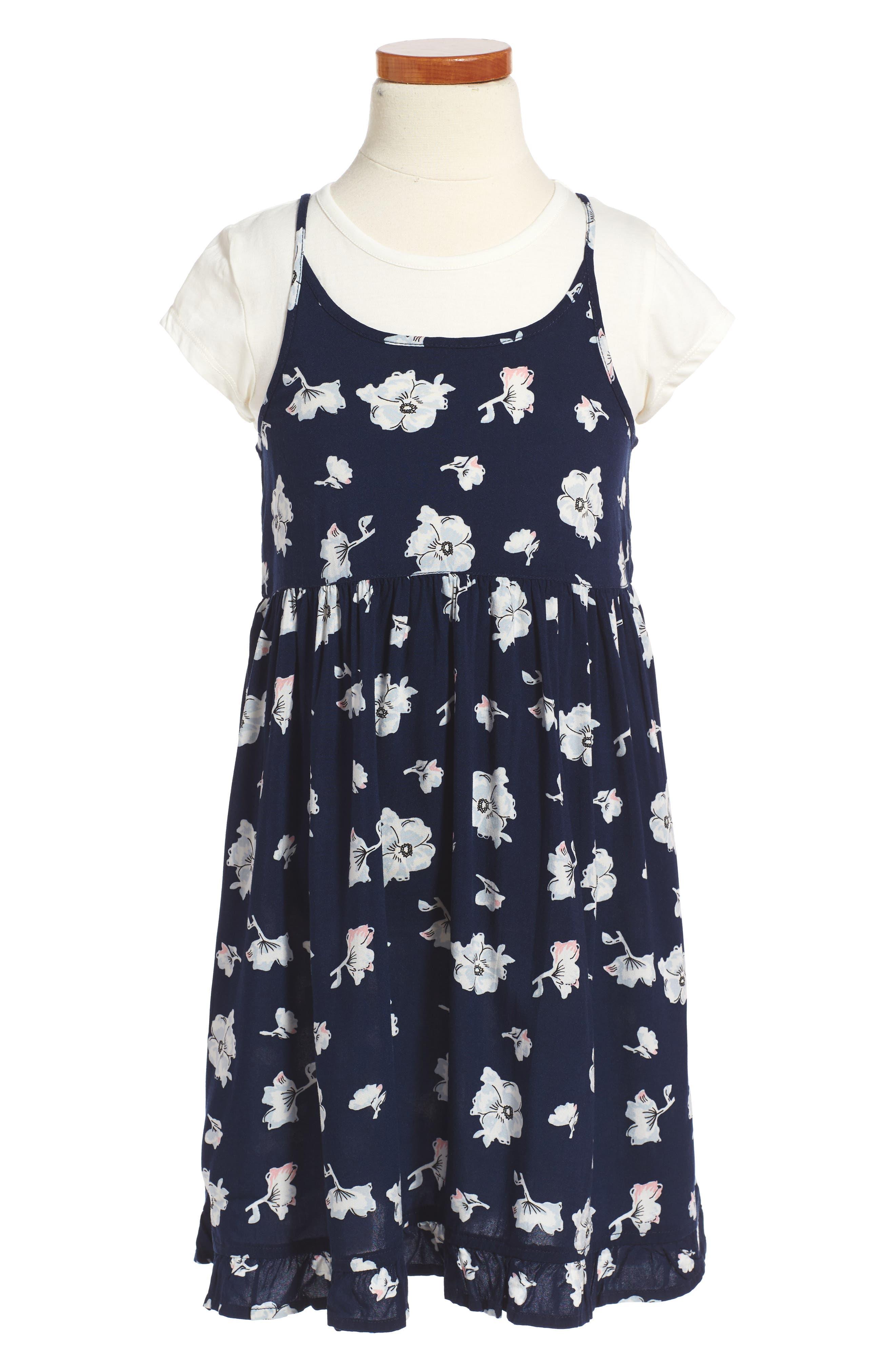 Easy Tee & Dress Set,                             Main thumbnail 1, color,                             Navy Peacoat Feminine Floral