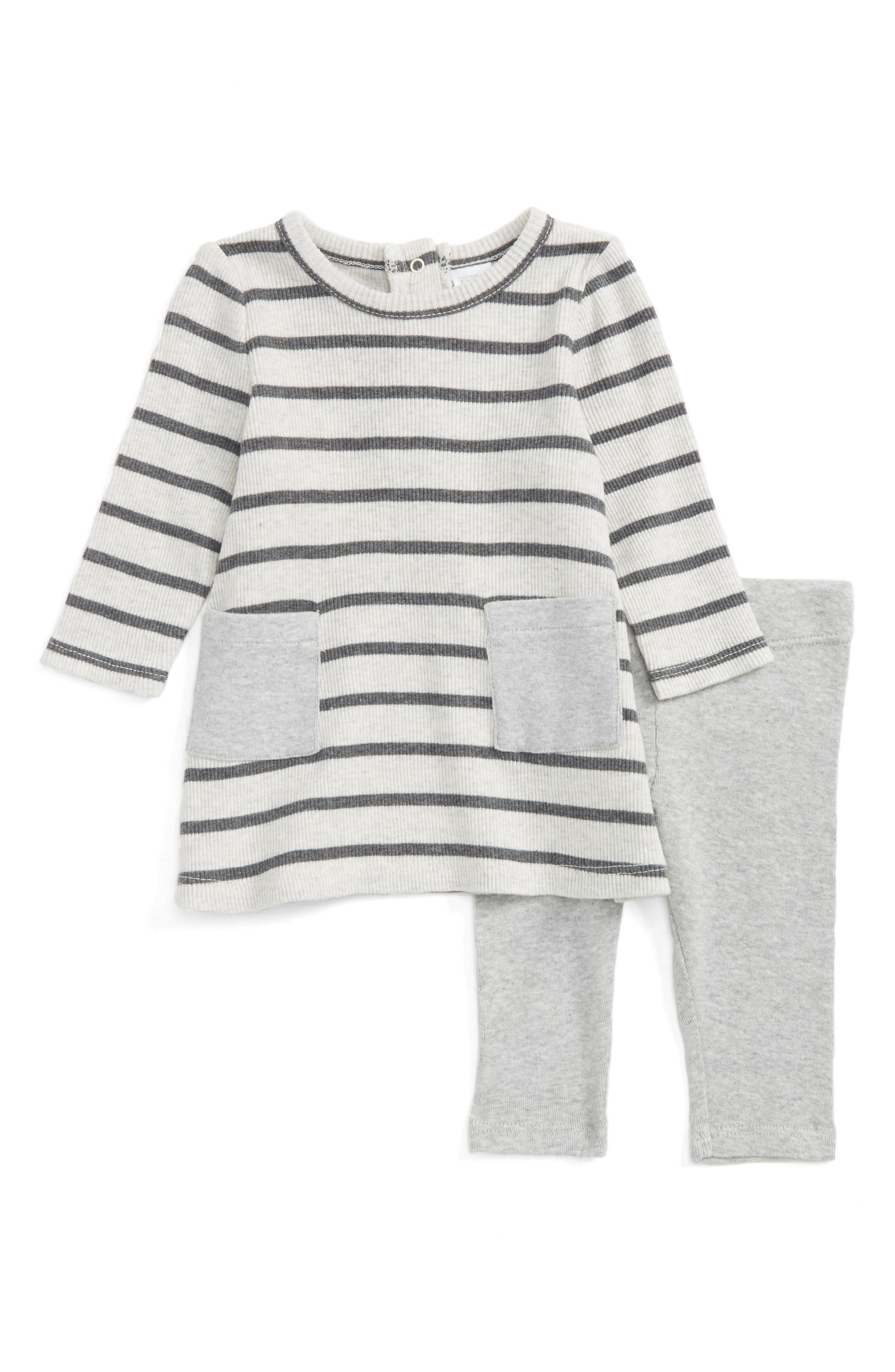 Stripe Dress & Leggings Set,                             Main thumbnail 1, color,                             Ivory Egret - Grey Stripe