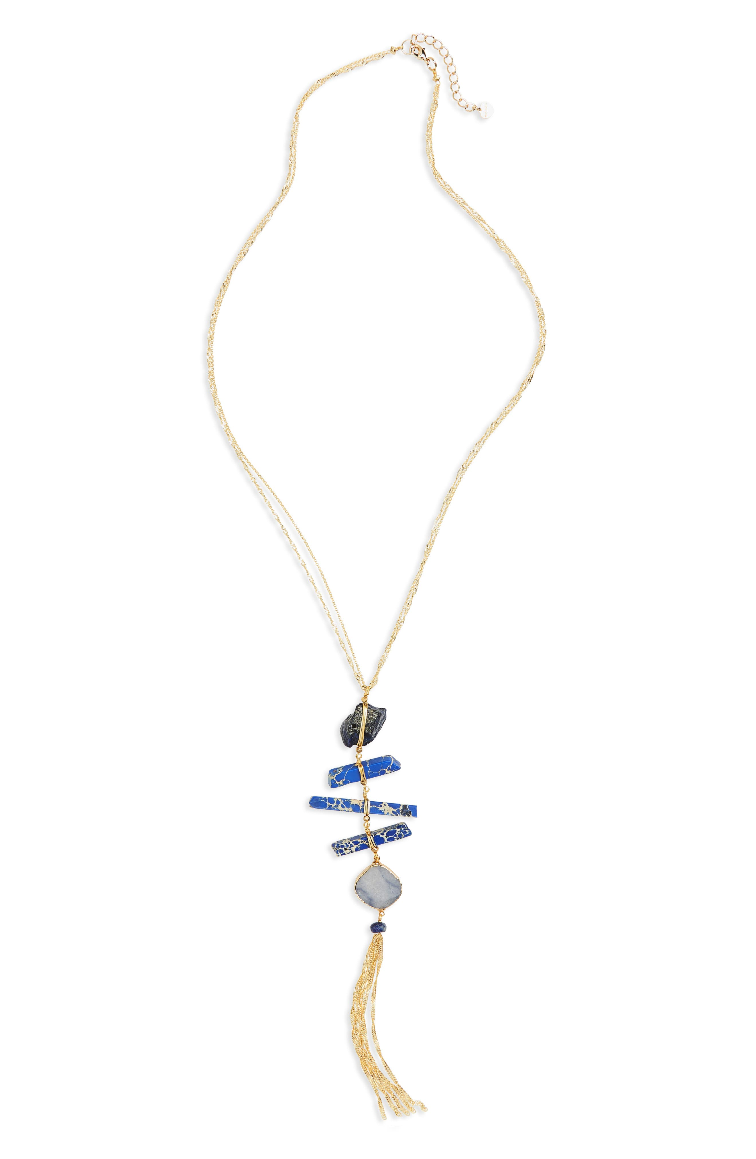 Wrapped Stone Necklace,                         Main,                         color, Blue
