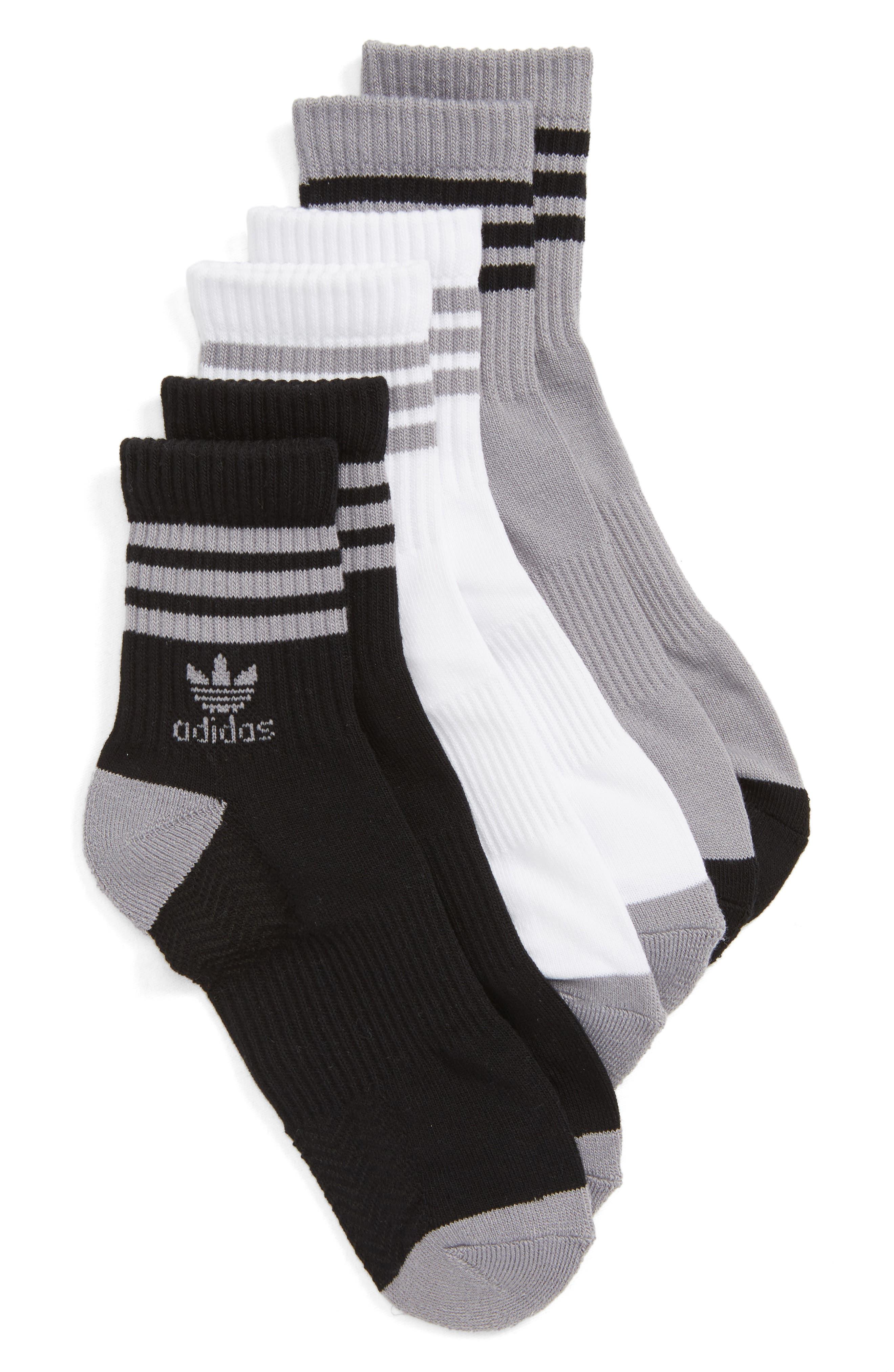 3-Pack Ribbed Ankle Crew Socks,                         Main,                         color, Light Onyx/ Black/ White