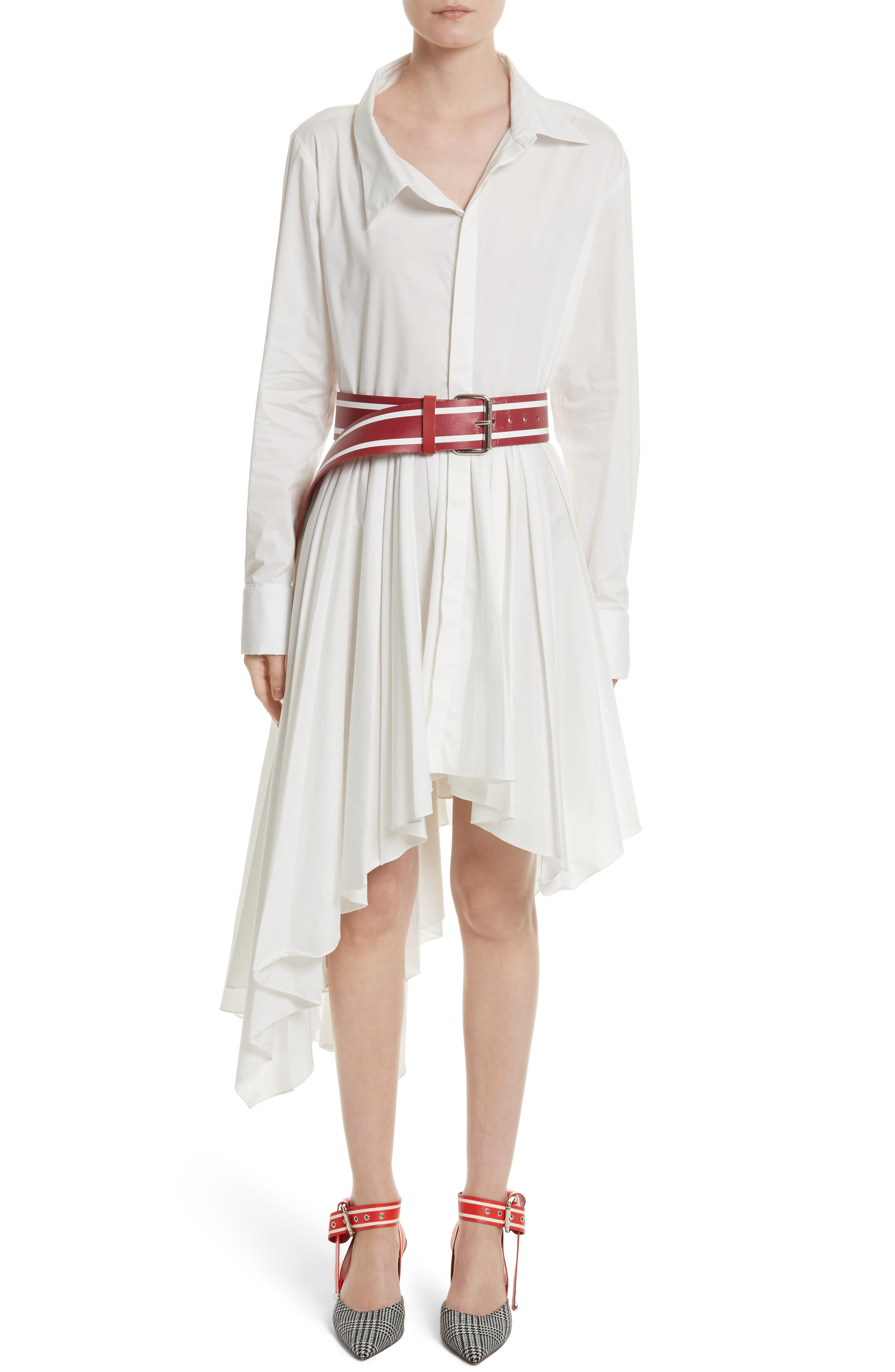 Pleated Asymmetrical Shirtdress,                             Alternate thumbnail 7, color,                             White