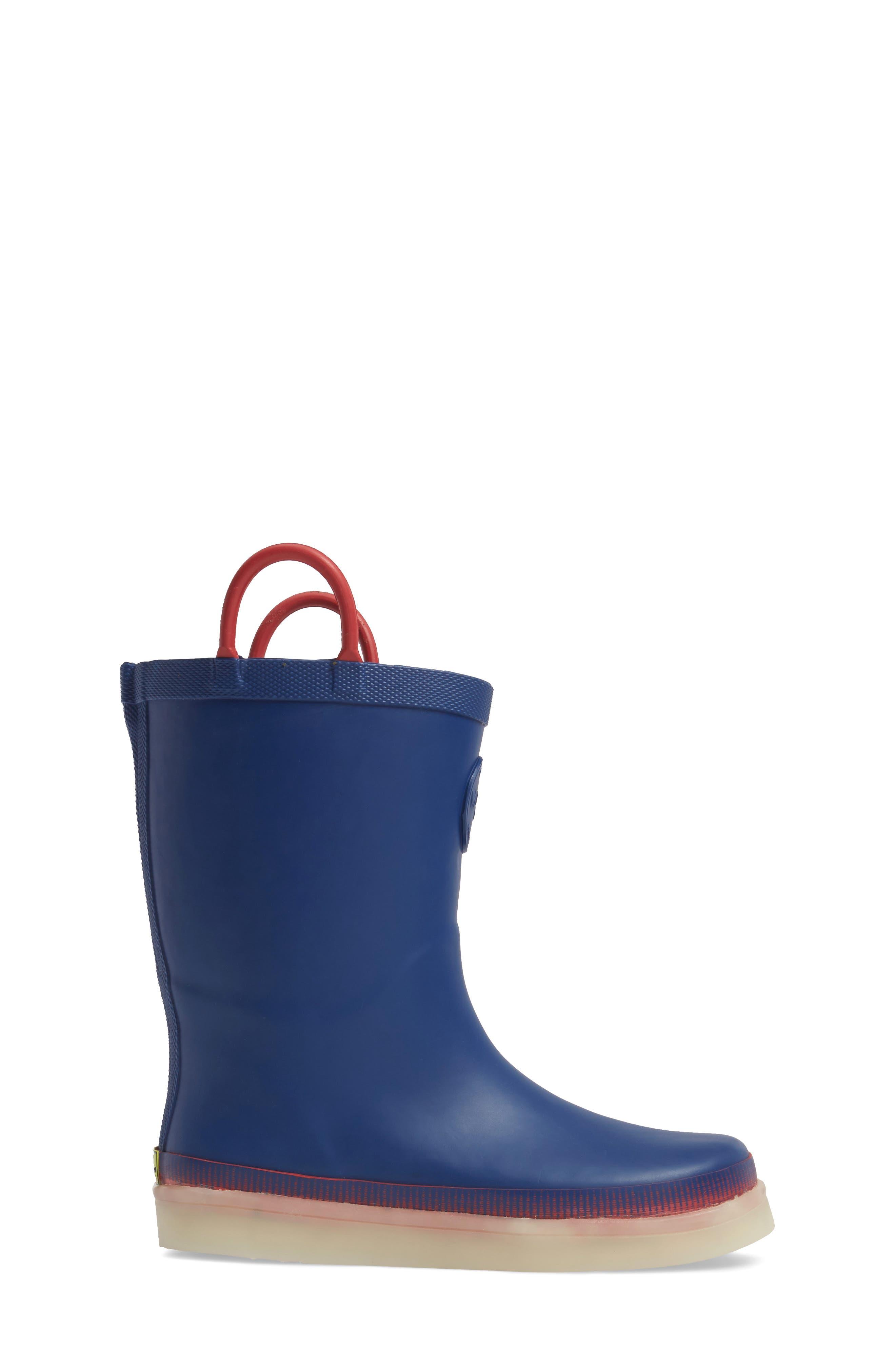 Tech Solid LED Rain Boot,                             Alternate thumbnail 3, color,                             Navy
