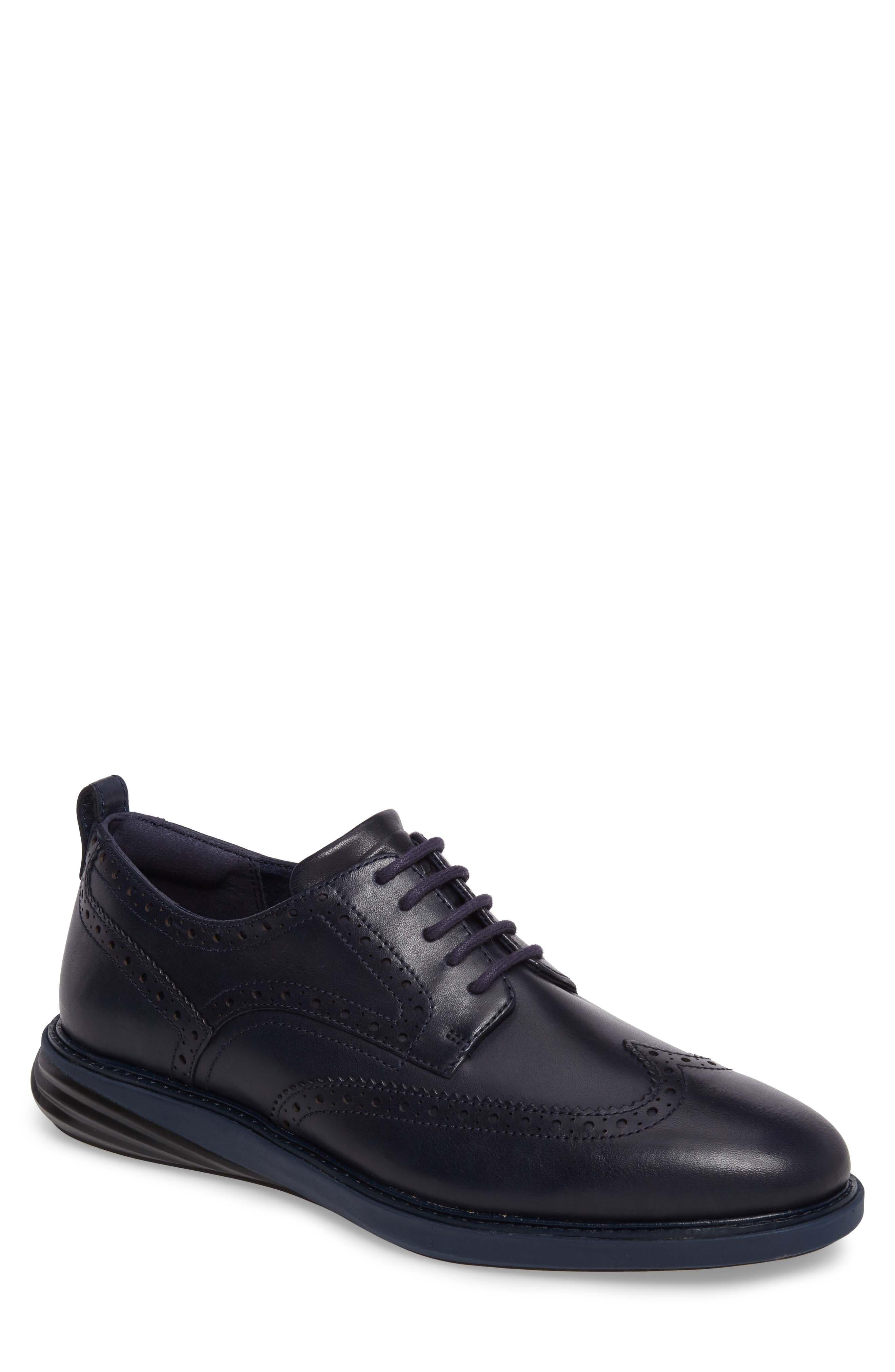 Grand Evolution Wingtip,                         Main,                         color, Marine Blue/ Black Leather