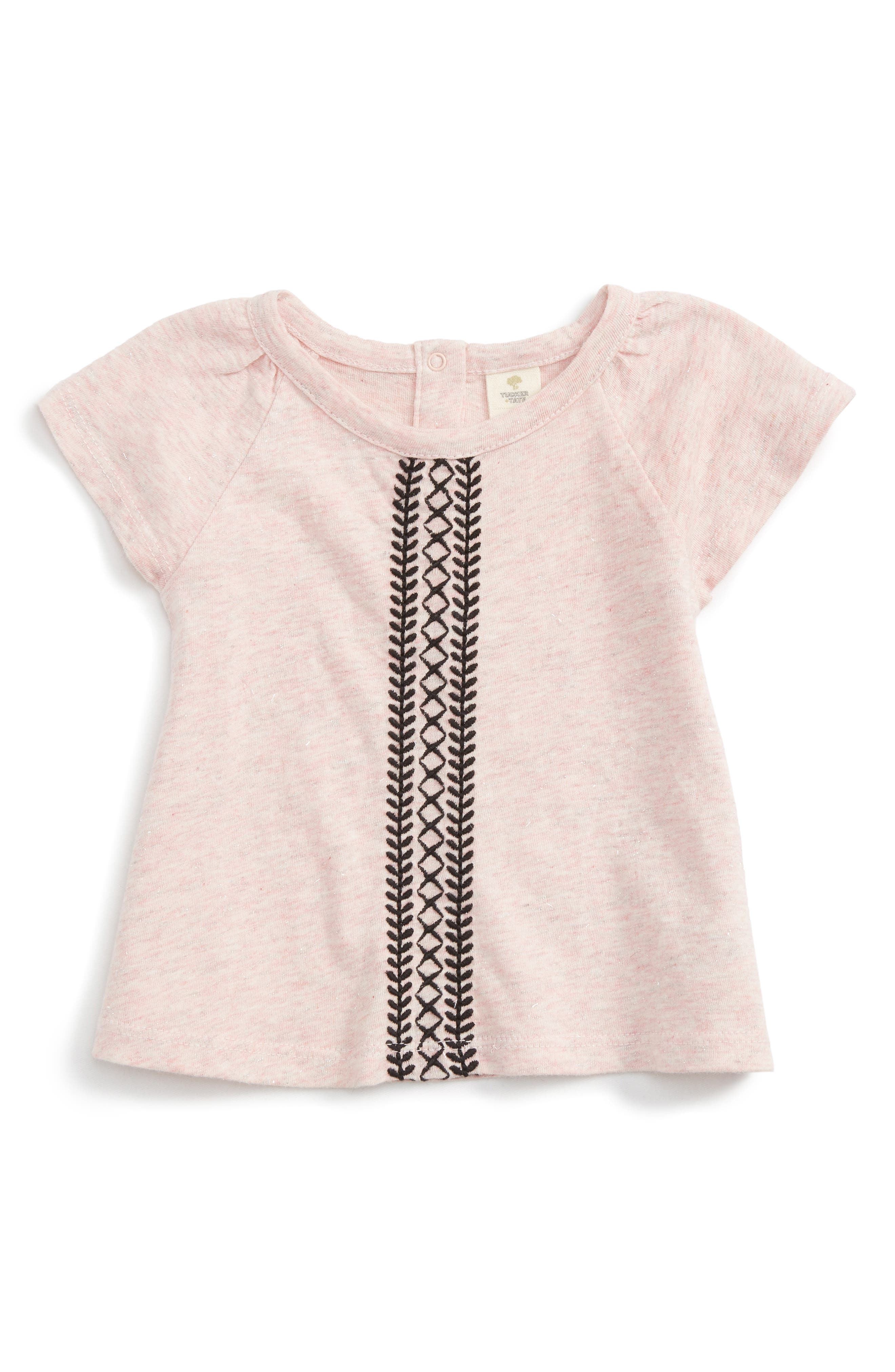 Embroidered Sparkle Tee,                         Main,                         color, Pink Glow Heather