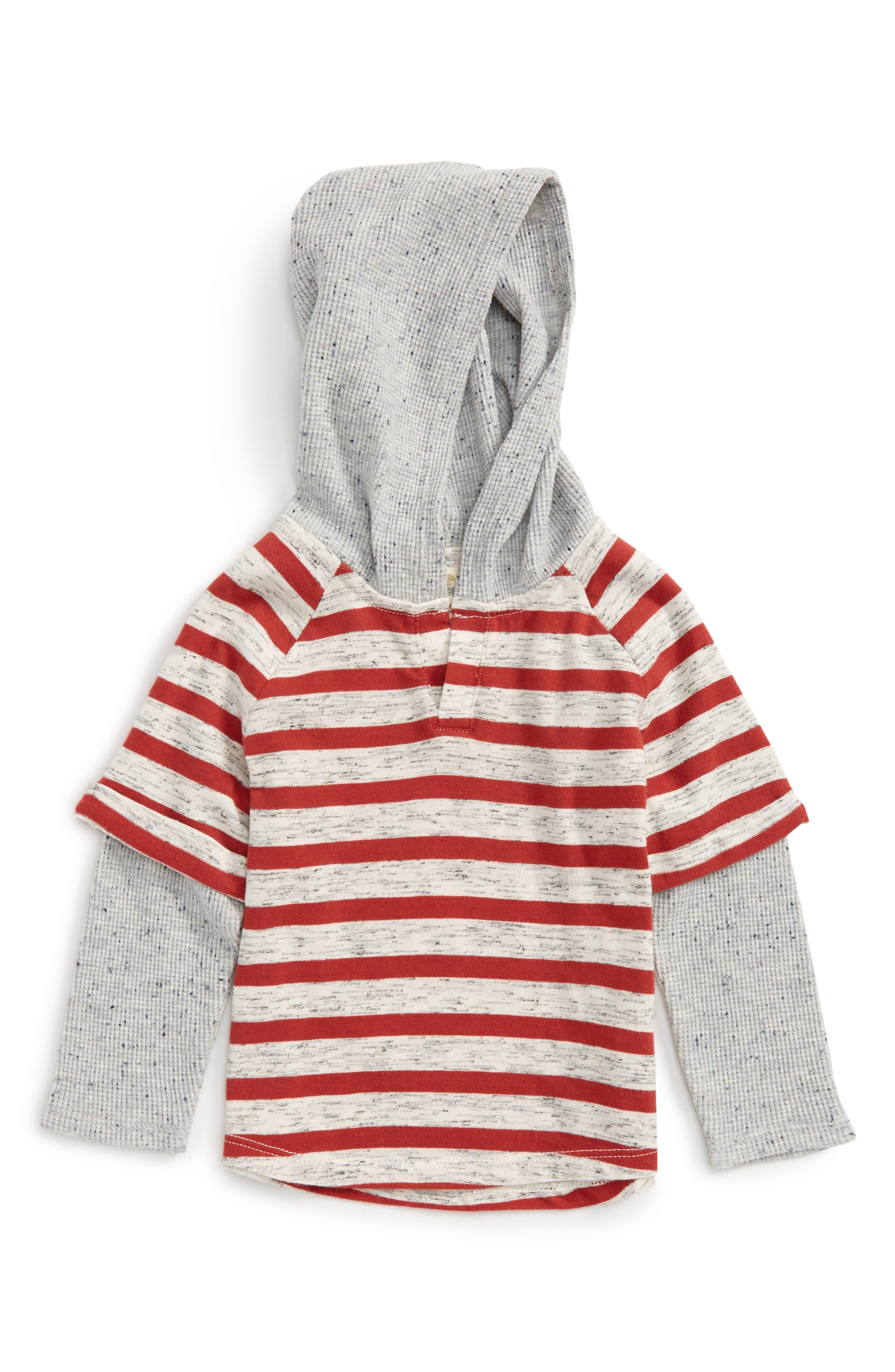 Hooded Raglan Layered T-Shirt,                             Main thumbnail 1, color,                             Rust Bossa Nova- Ivory Stripe