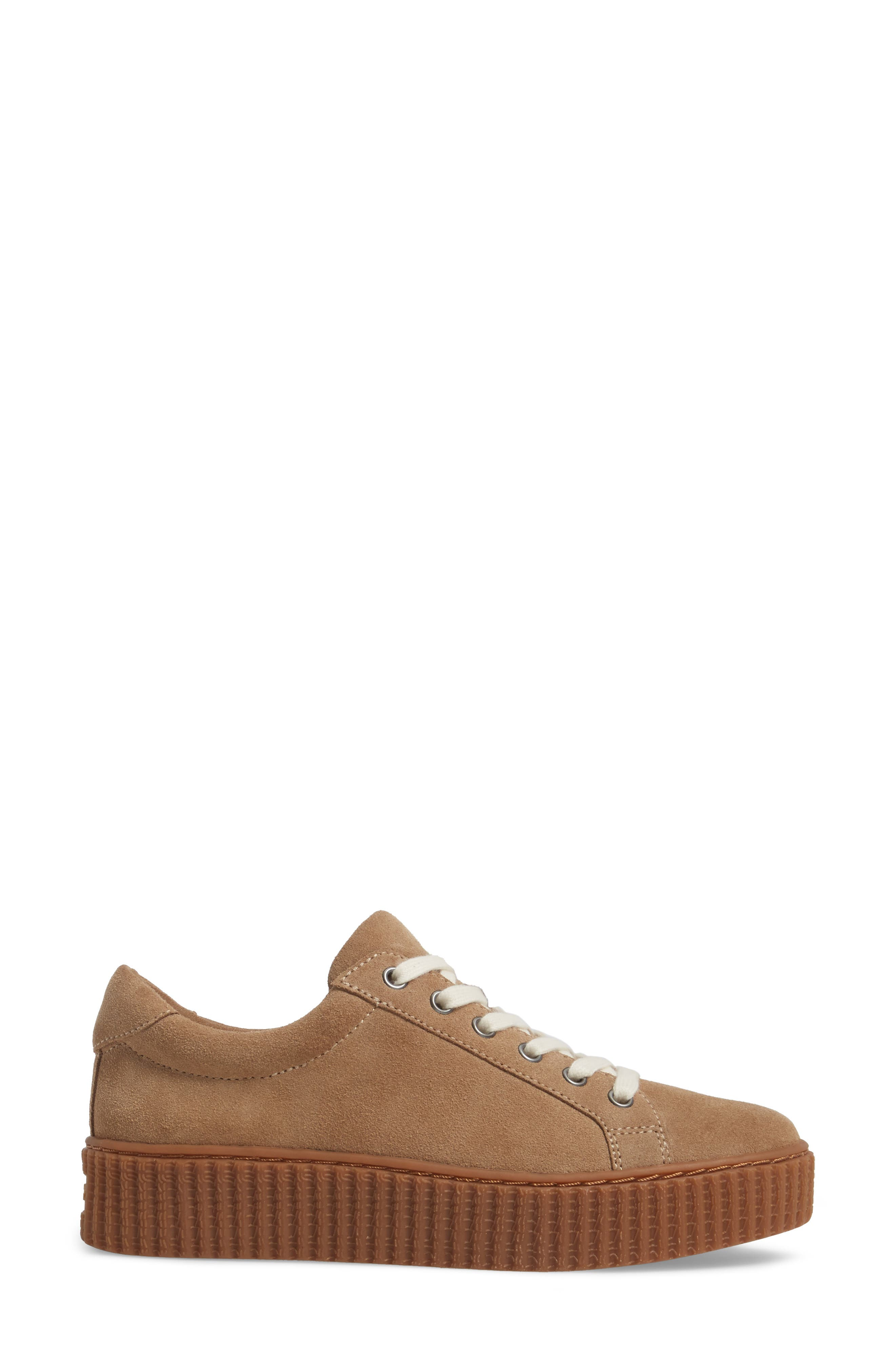 Ruth Platform Sneaker,                             Alternate thumbnail 3, color,                             Light Taupe Suede