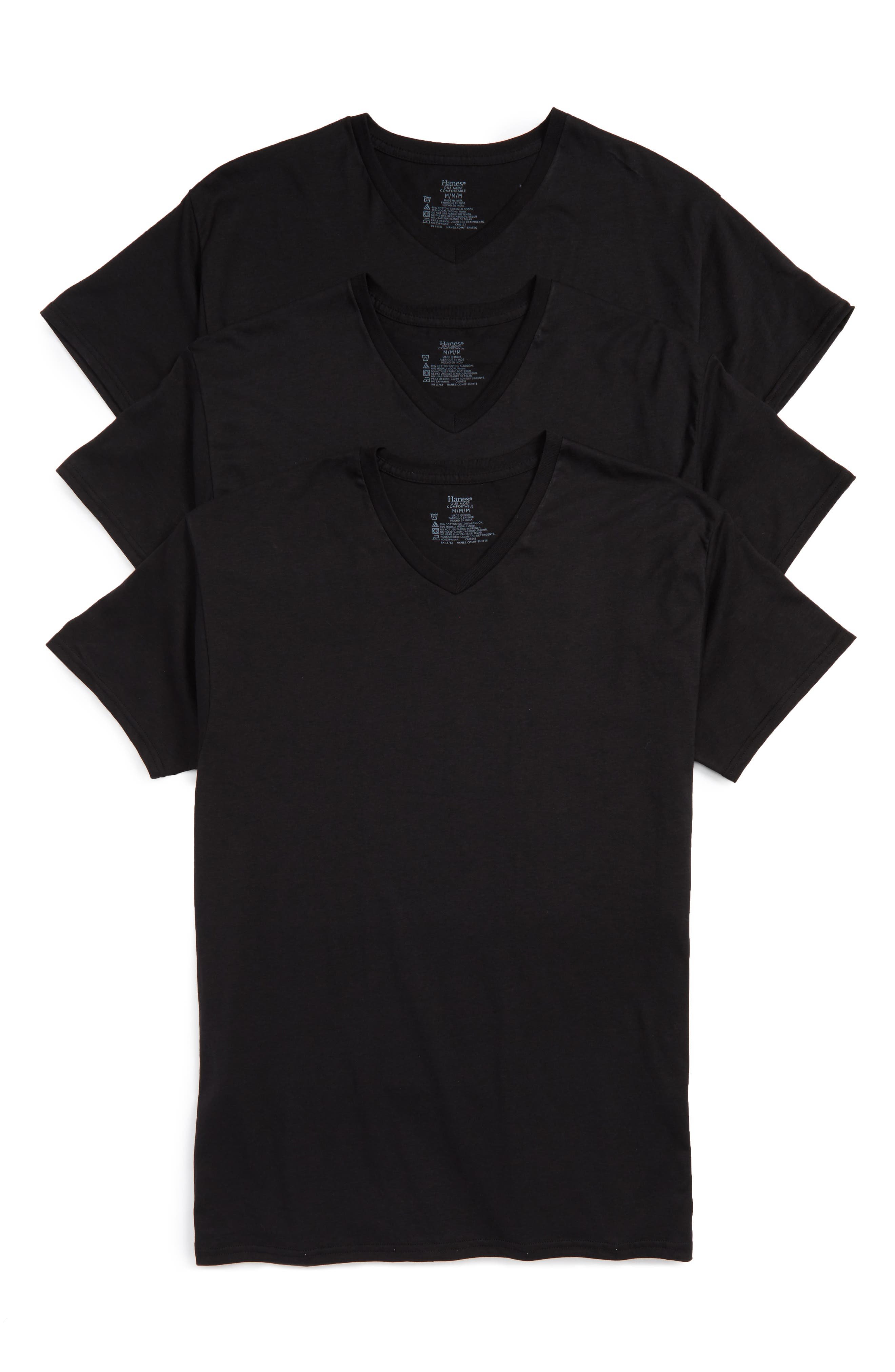 Alternate Image 1 Selected - Hanes Luxury Essentials 3-Pack V-Neck T-Shirt