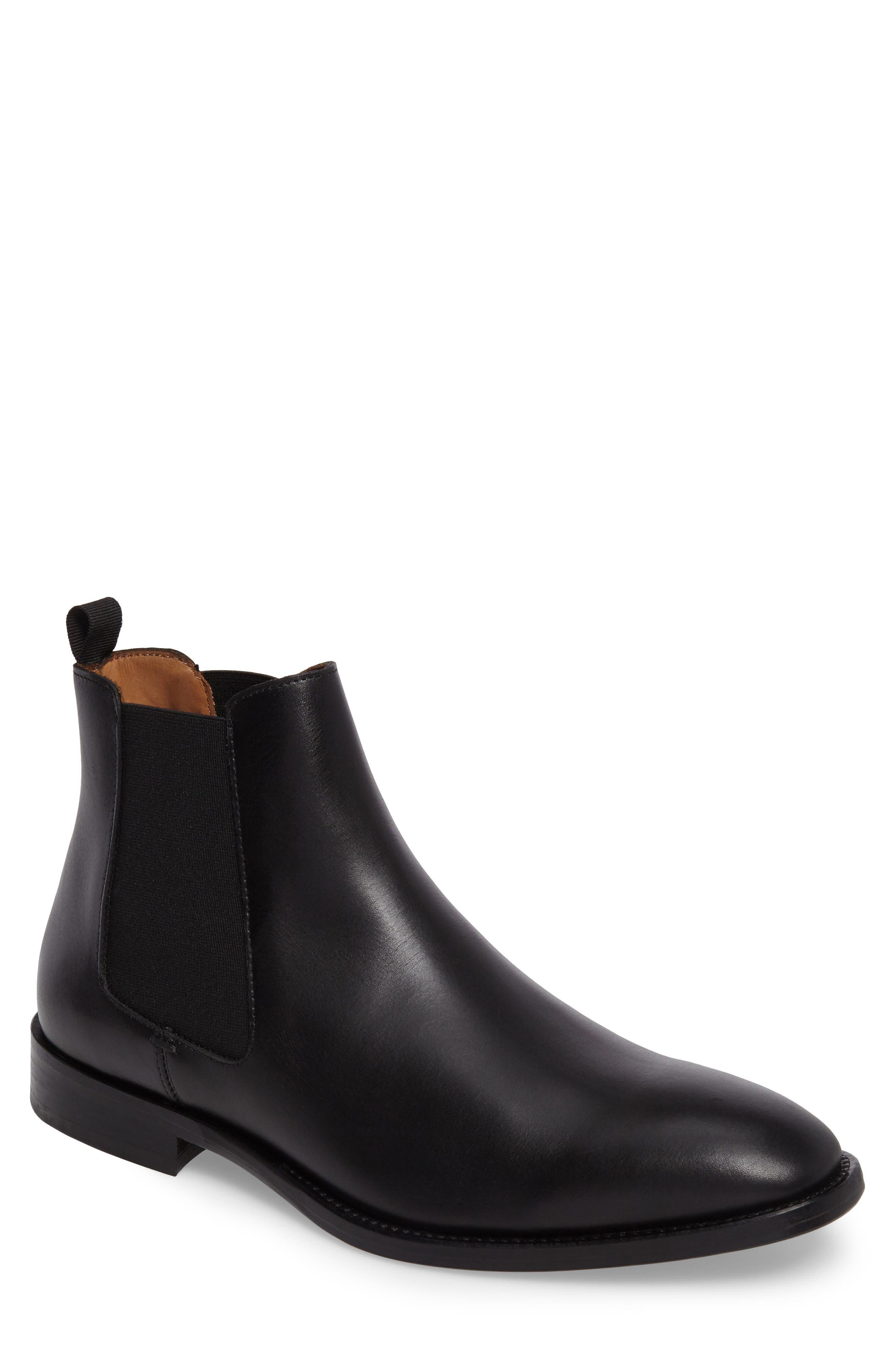 Haldien Chelsea Boot,                         Main,                         color, Black Leather/ Elastic