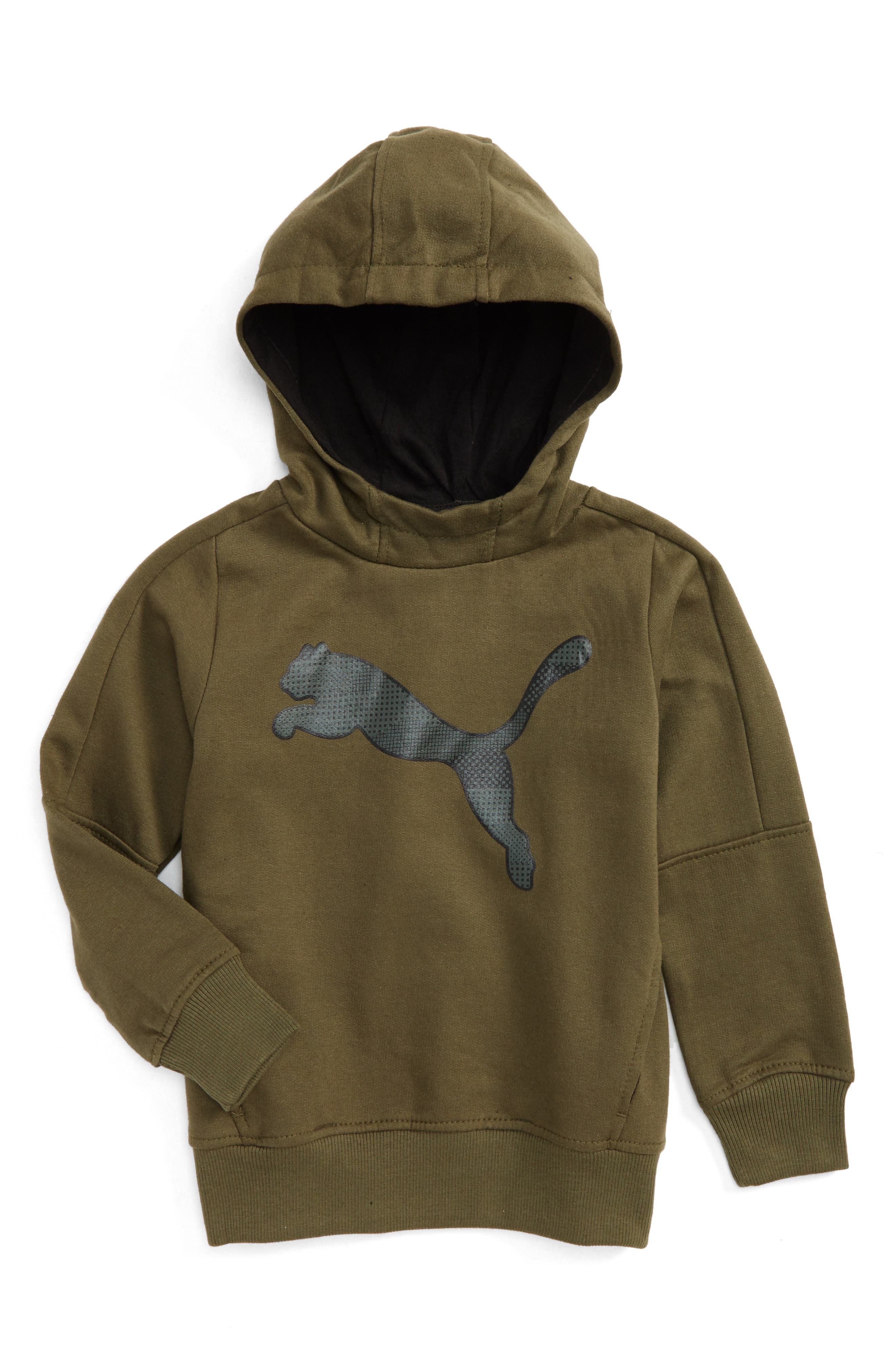 Big Cat Graphic Hoodie,                         Main,                         color, Olive Night