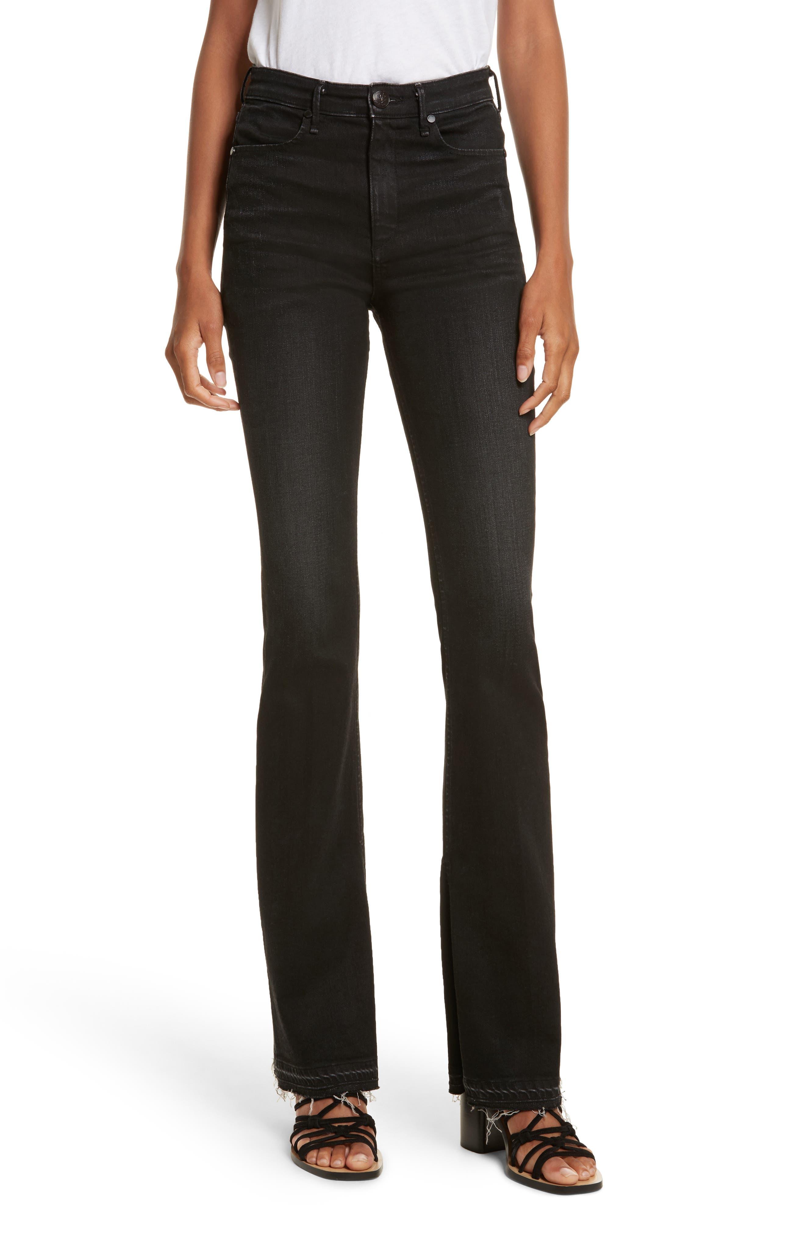 Bella Flare Jeans,                         Main,                         color, Worn Black