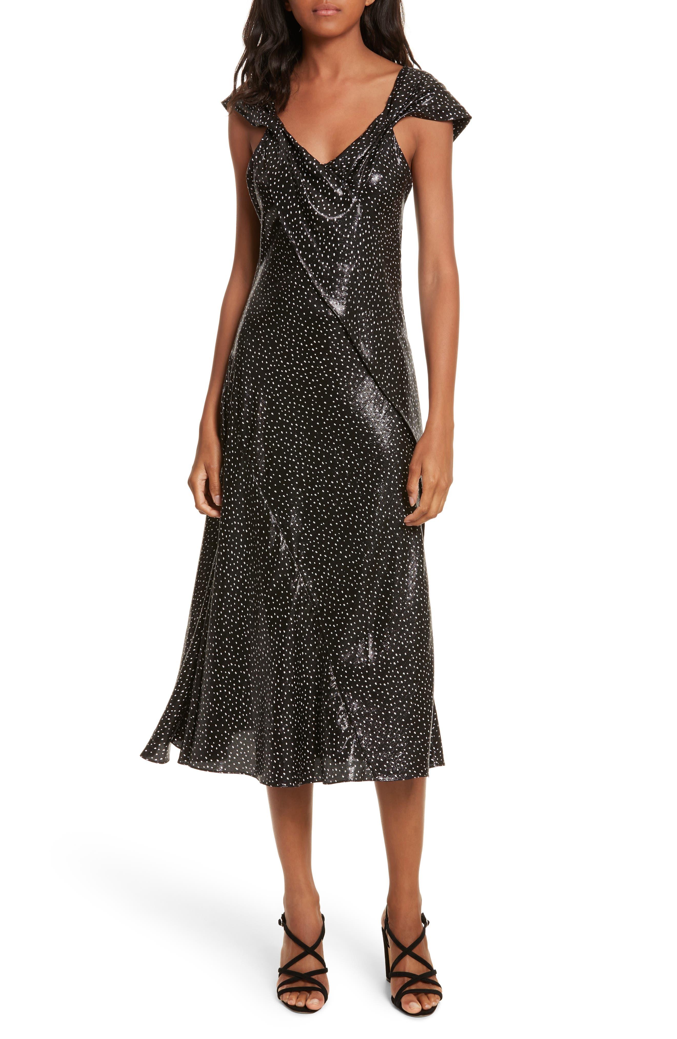 Metallic Dot Midi Dress,                         Main,                         color, Irvine Dot Black