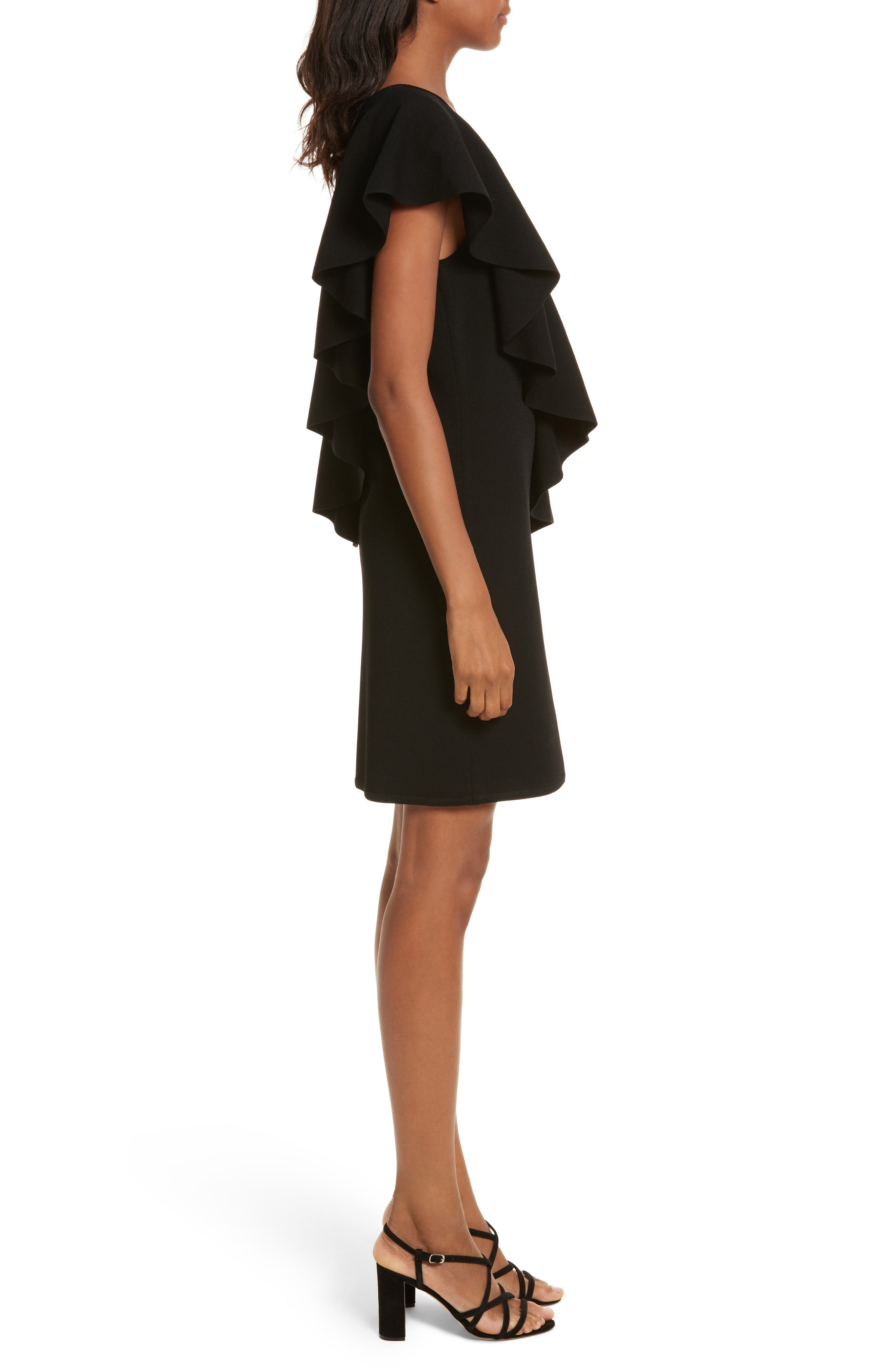 Asymmetrical Ruffle Dress,                             Alternate thumbnail 3, color,                             Black