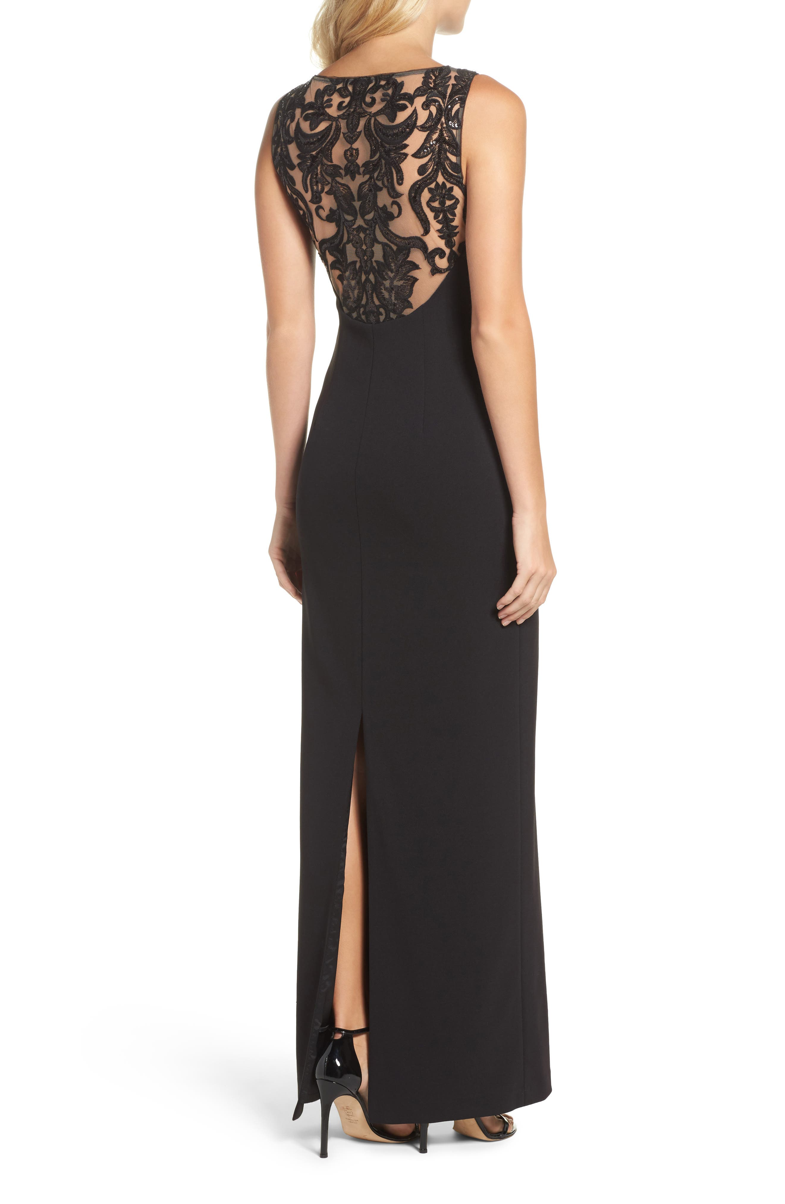 Adrianna Papell Cowl Neck Embroidered Back Gown