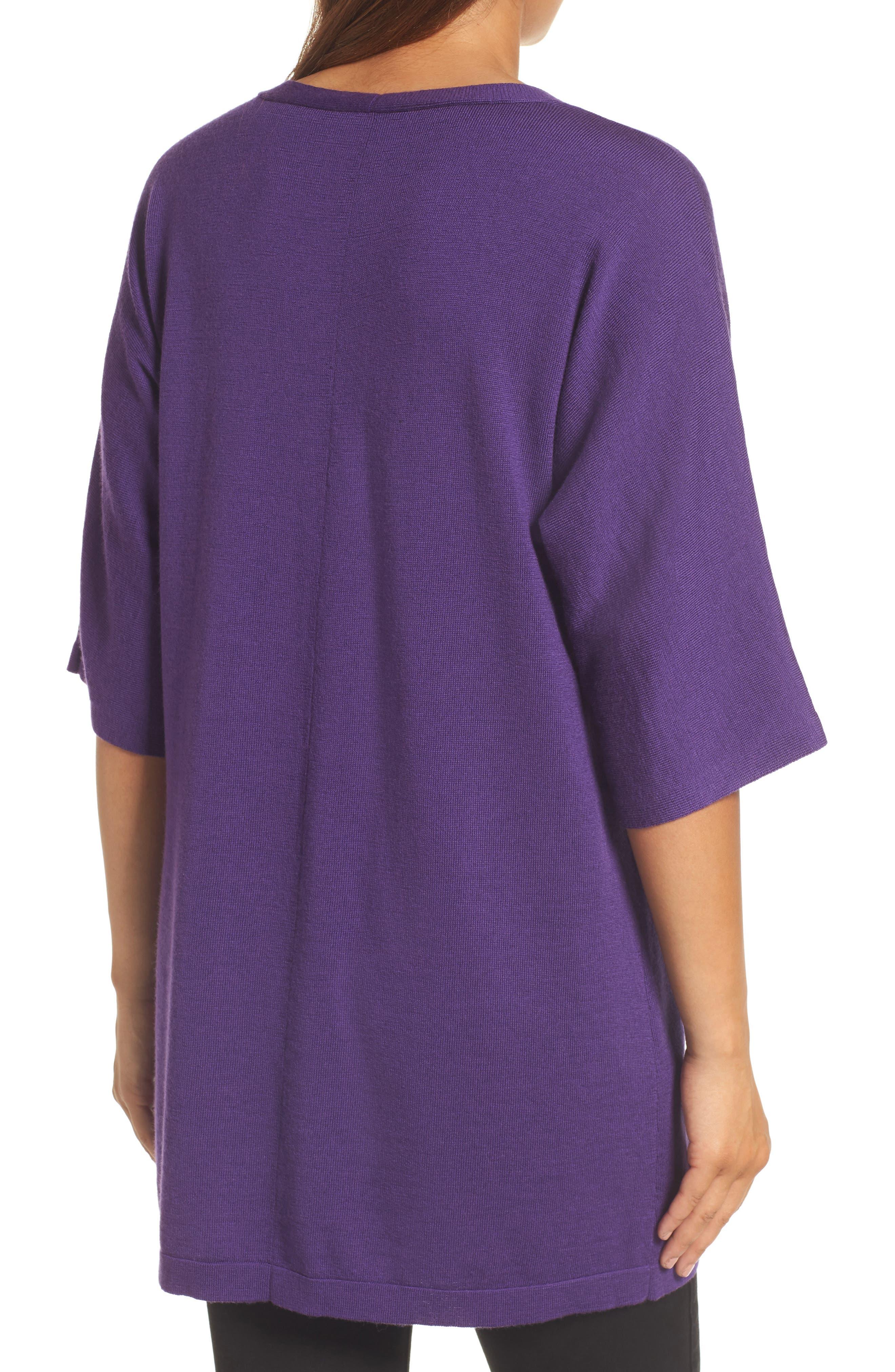 Merino Wool Tunic Sweater,                             Alternate thumbnail 2, color,                             Purple Rain