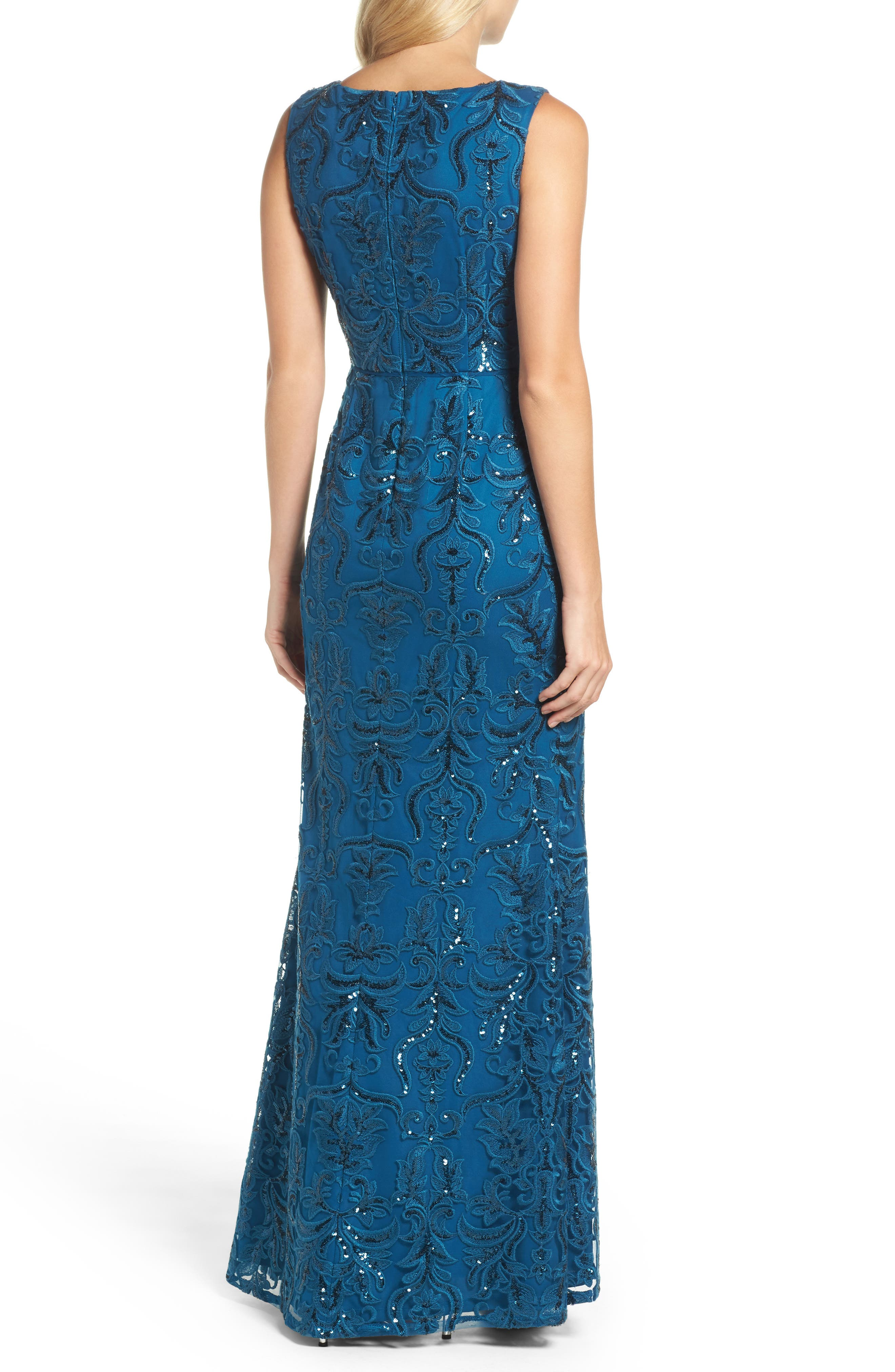 Sequin Scroll Gown,                             Alternate thumbnail 2, color,                             Evening Sky