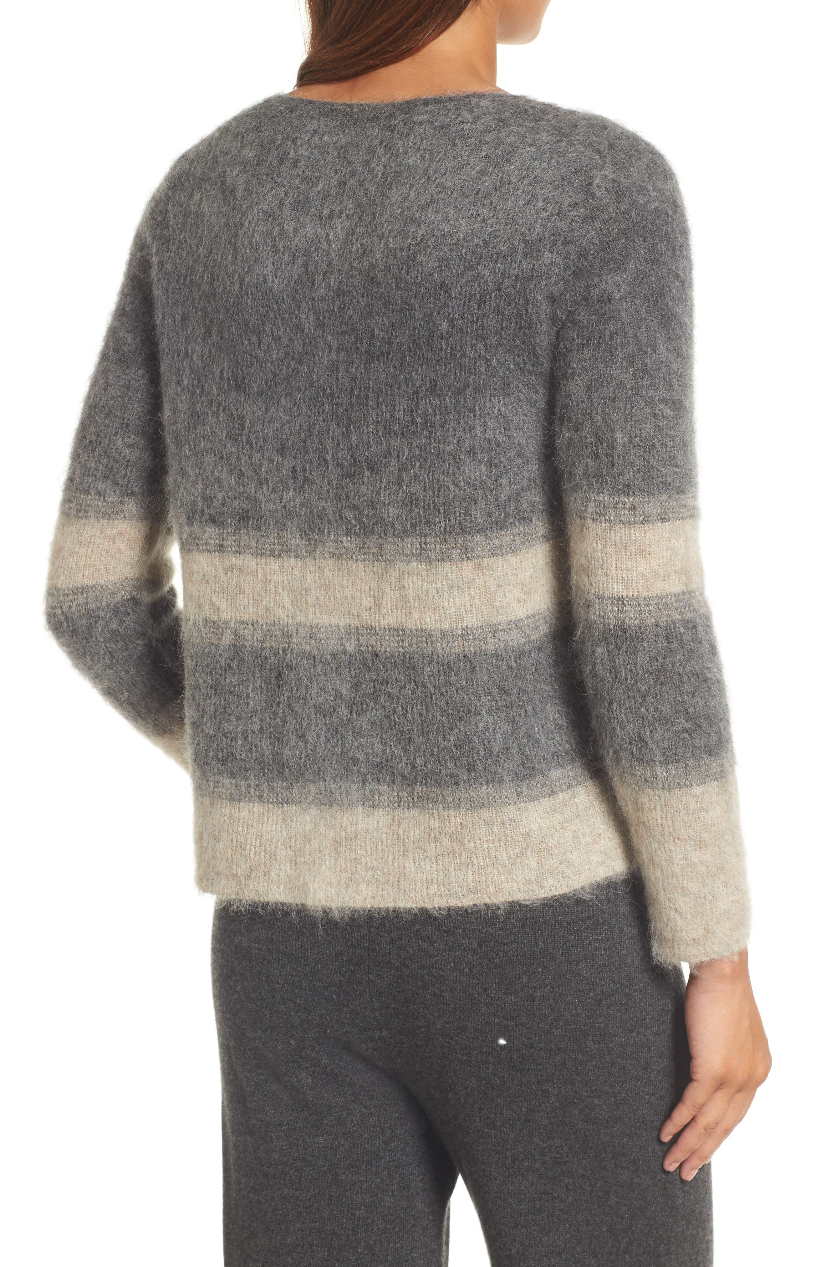 Alternate Image 2  - Eileen Fisher Stripe Mohair & Alpaca Blend Bateau Neck Sweater