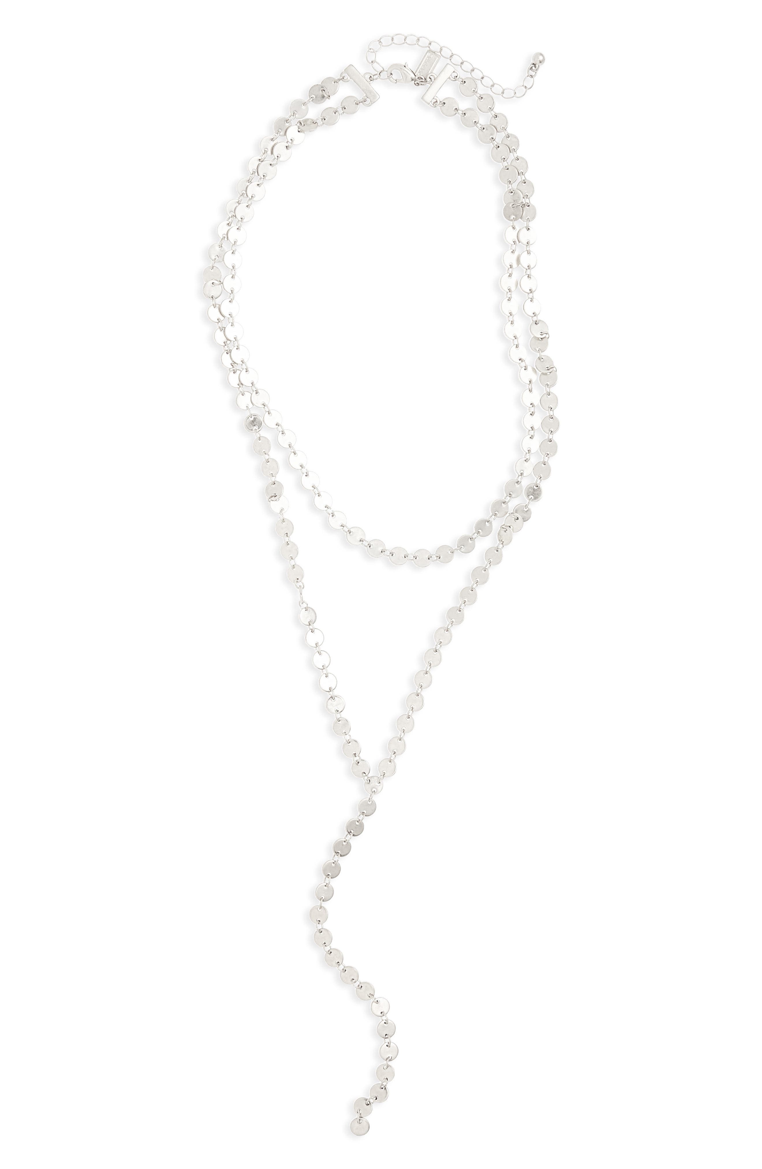Tiered Y-Necklace,                         Main,                         color, Silver
